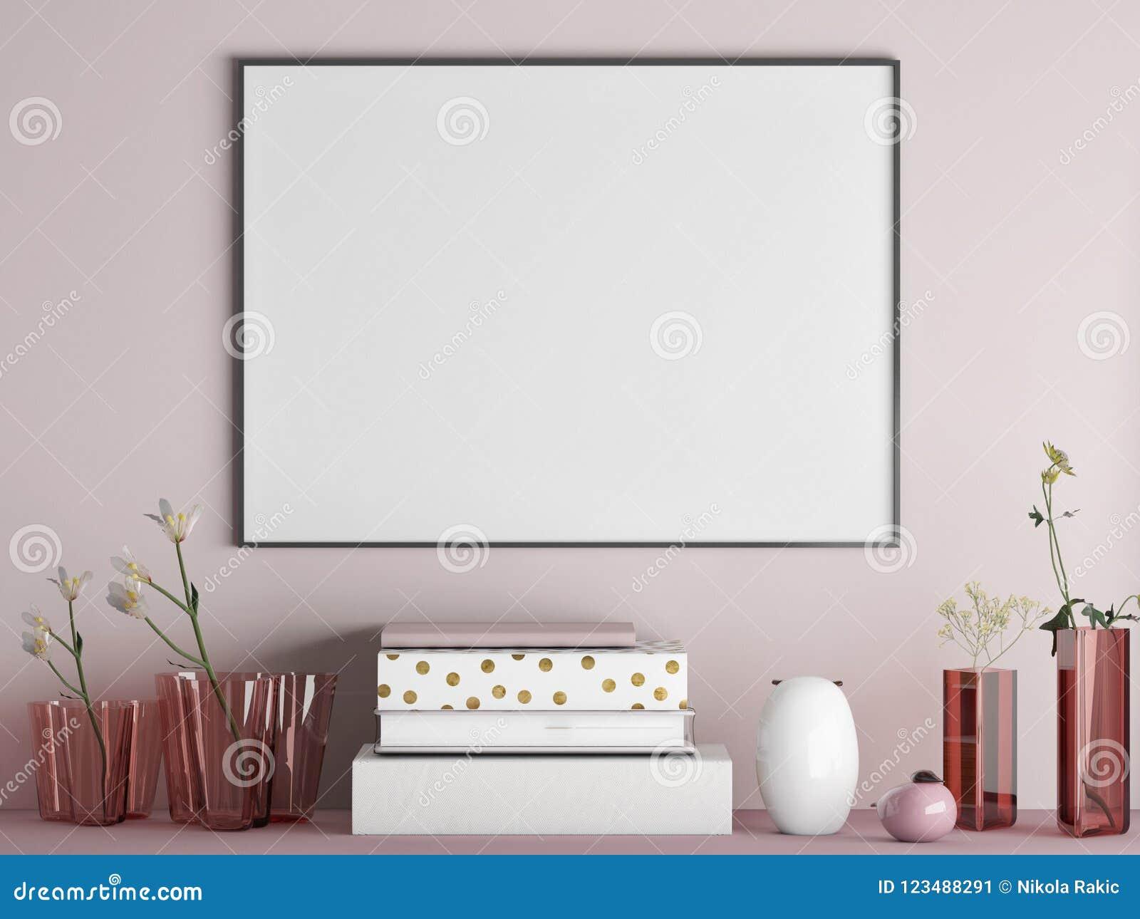 Åtlöje upp affischen på den rosa väggen för minimalism med garnering