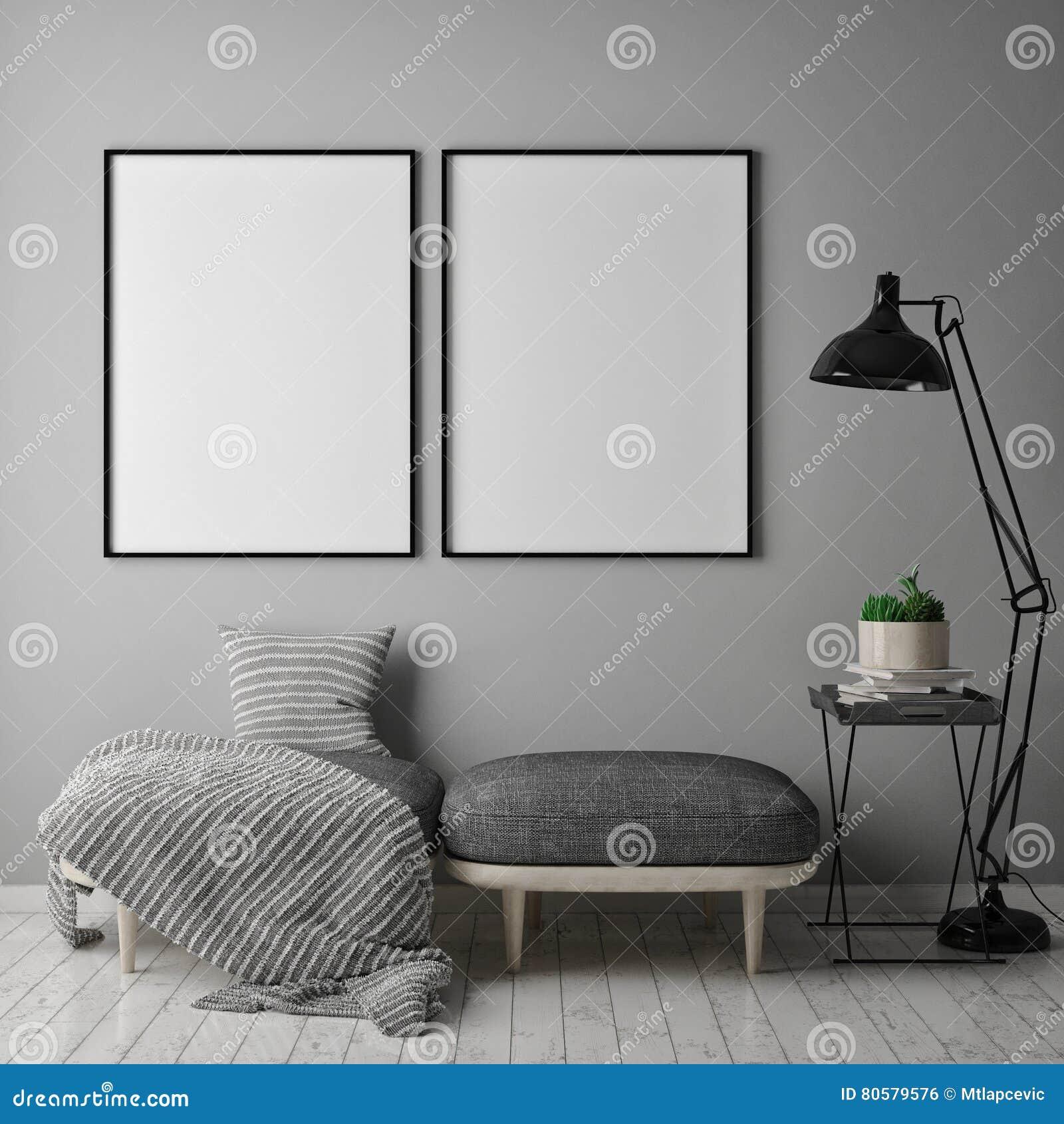 Åtlöje upp affischram i inre bakgrund för hipsteren, scandinavian stil, 3D framför,