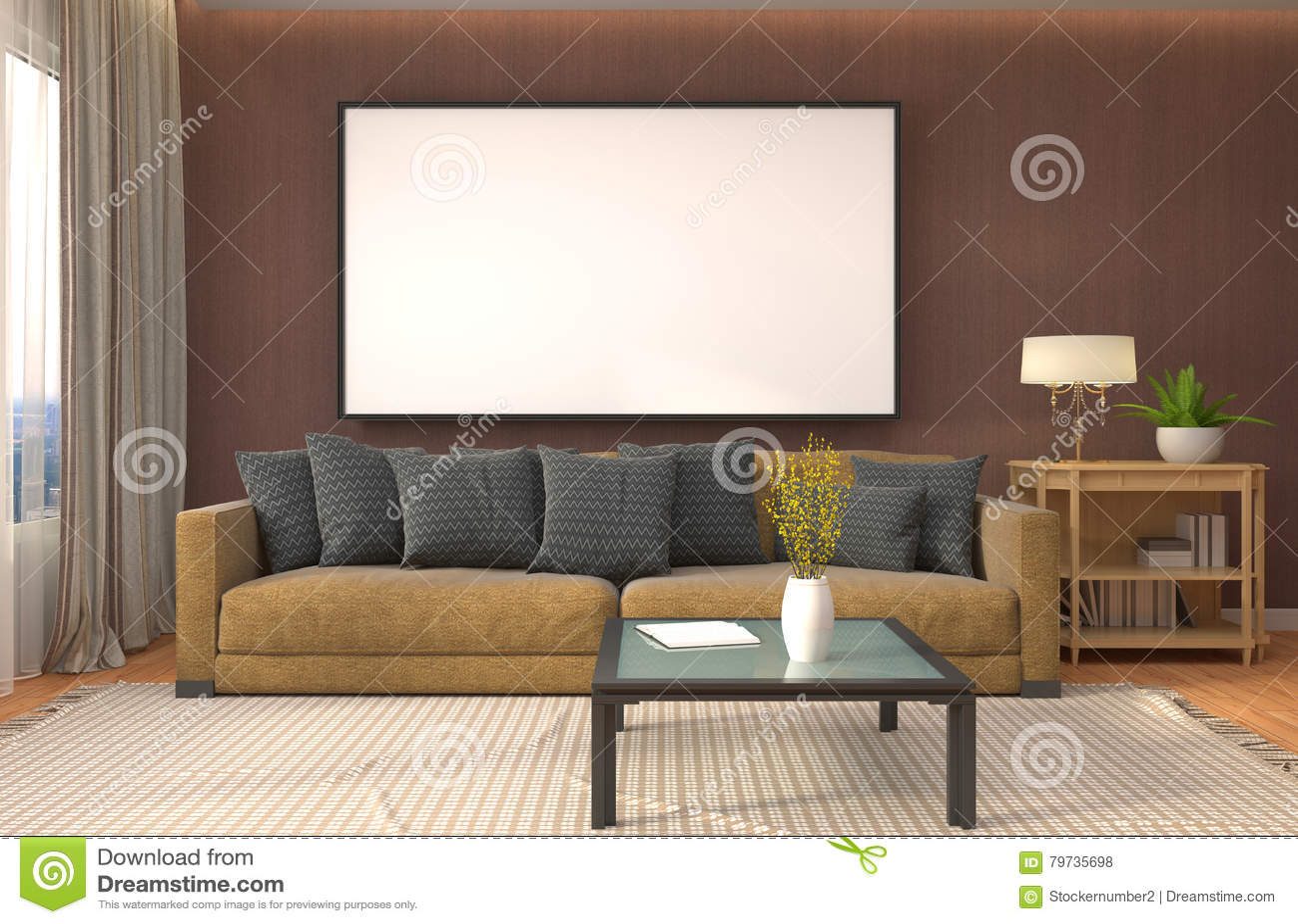 Åtlöje upp affischram i inre bakgrund illustration 3d