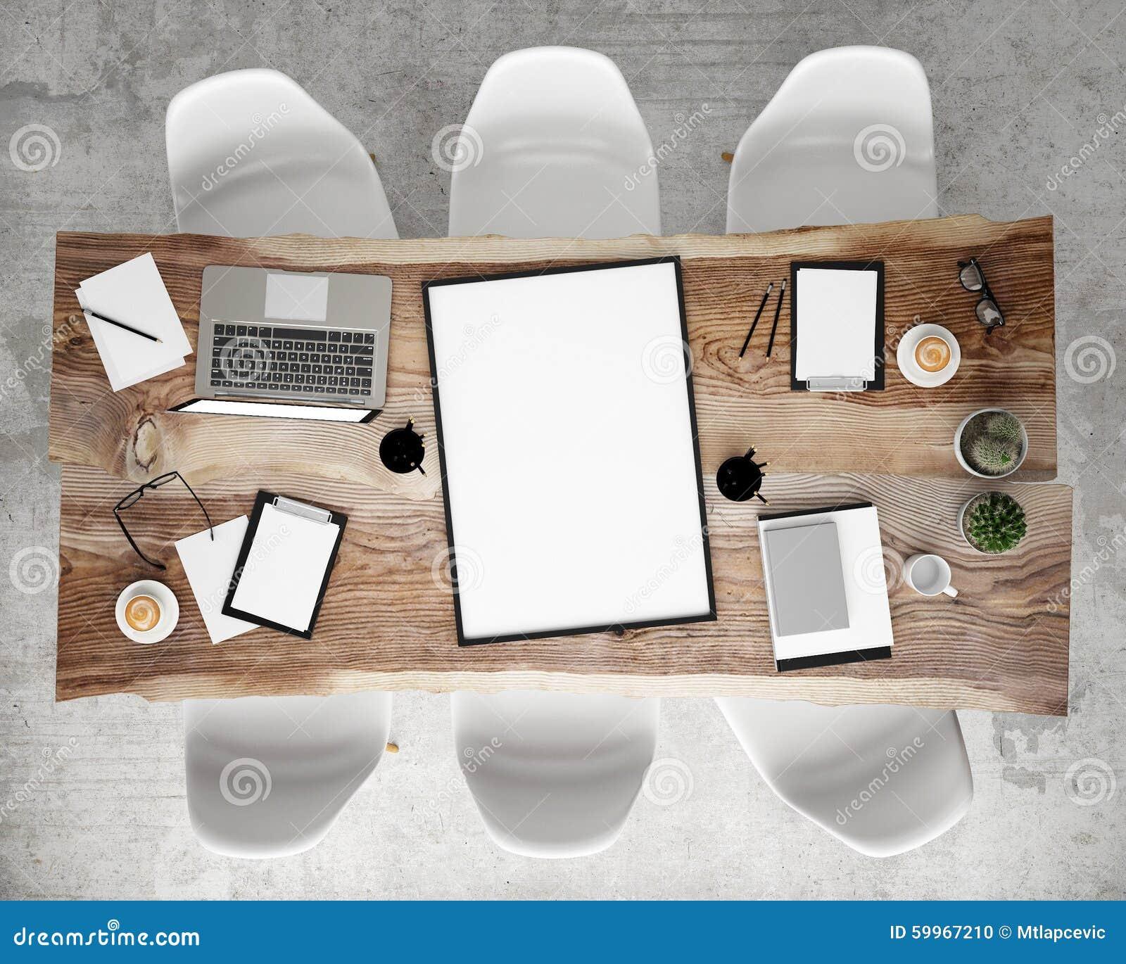 Åtlöje upp affischram på mötekonferenstabellen med kontorstillbehör och bärbar datordatorer, inre bakgrund för hipster,