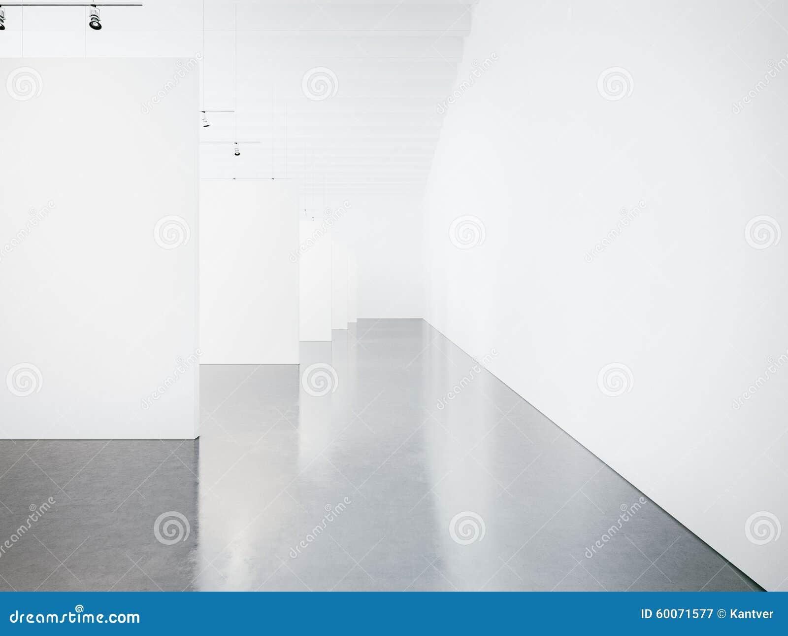Åtlöje upp av den tomma museumgalleriinre 3d