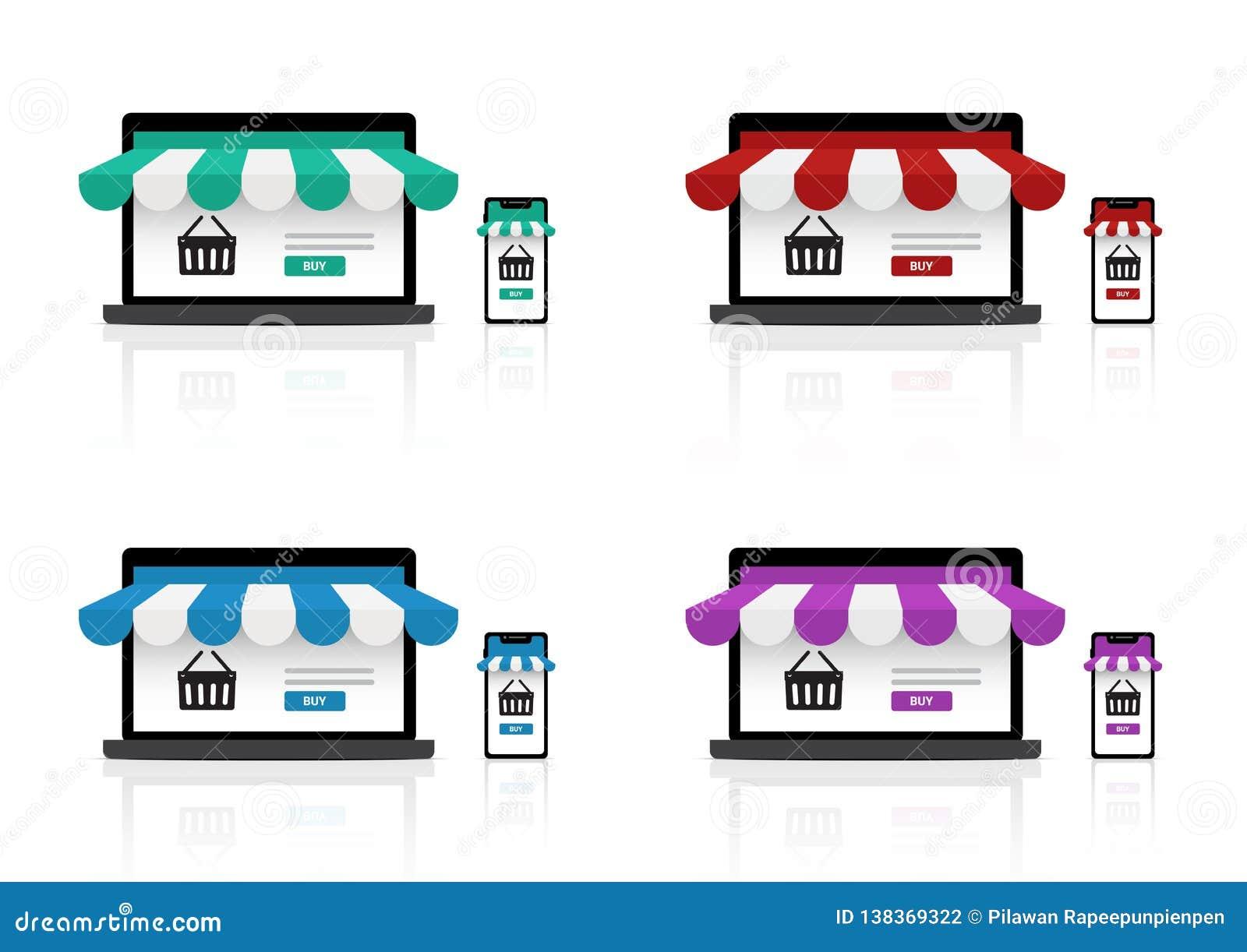 Åtlöje upp realistiskt online-shoppa lager på den Smartphone applikationen och bakgrund för produkt för bärbar datorWebsite till