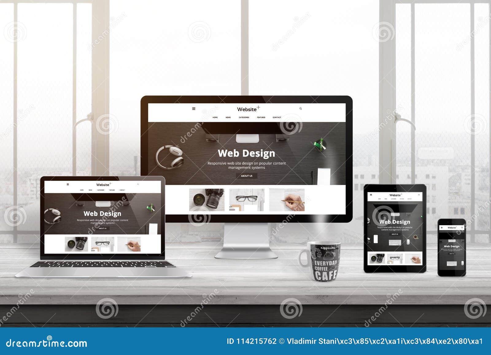 Åtskilliga apparater med modern, svars- plan webbplatspresentation