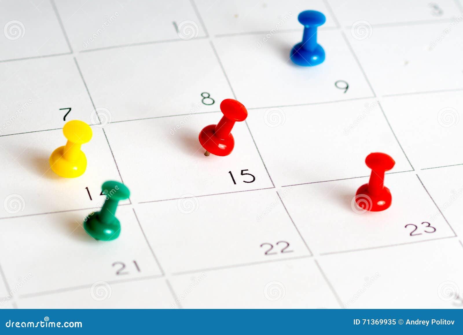Åtskilligt färgben på kalenderraster