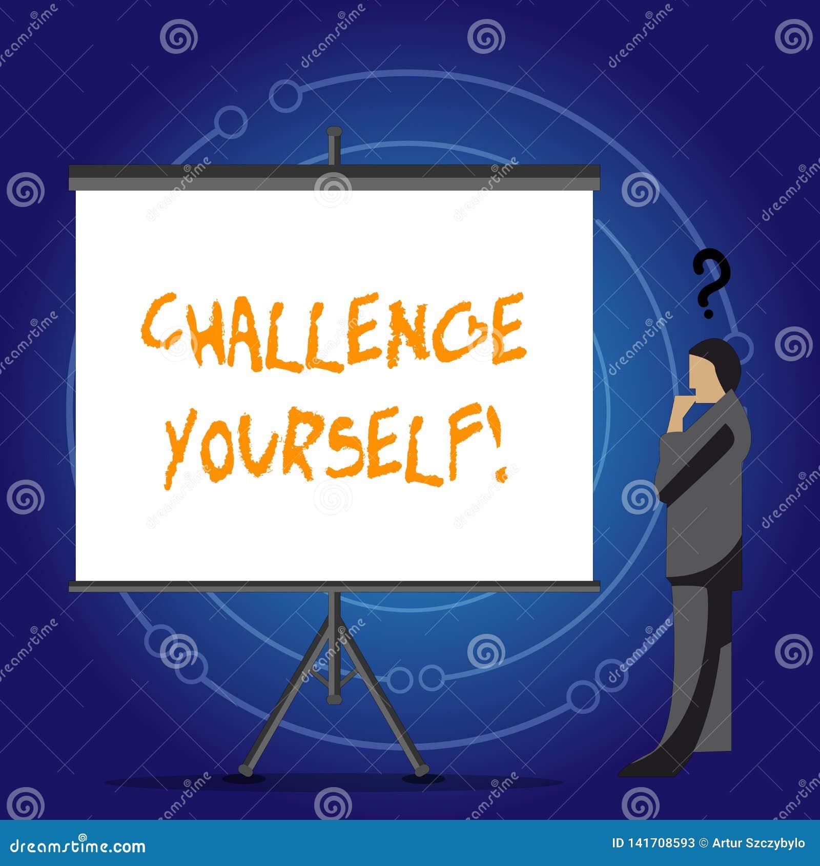 概念性手文字陈列挑战  陈列被克服的信心强的鼓励改善的企业照片