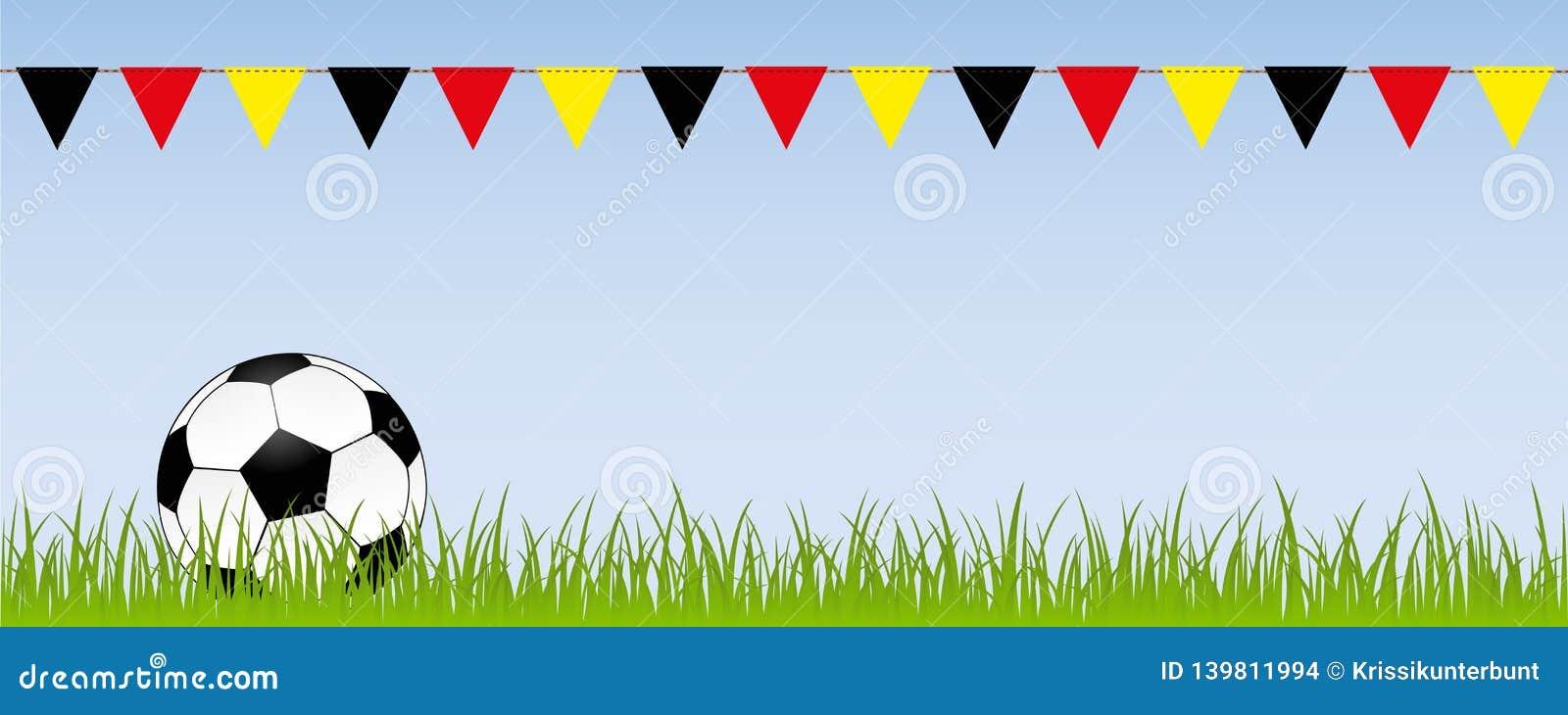 橄榄球在绿色草甸的足球有在德国颜色的旗子的
