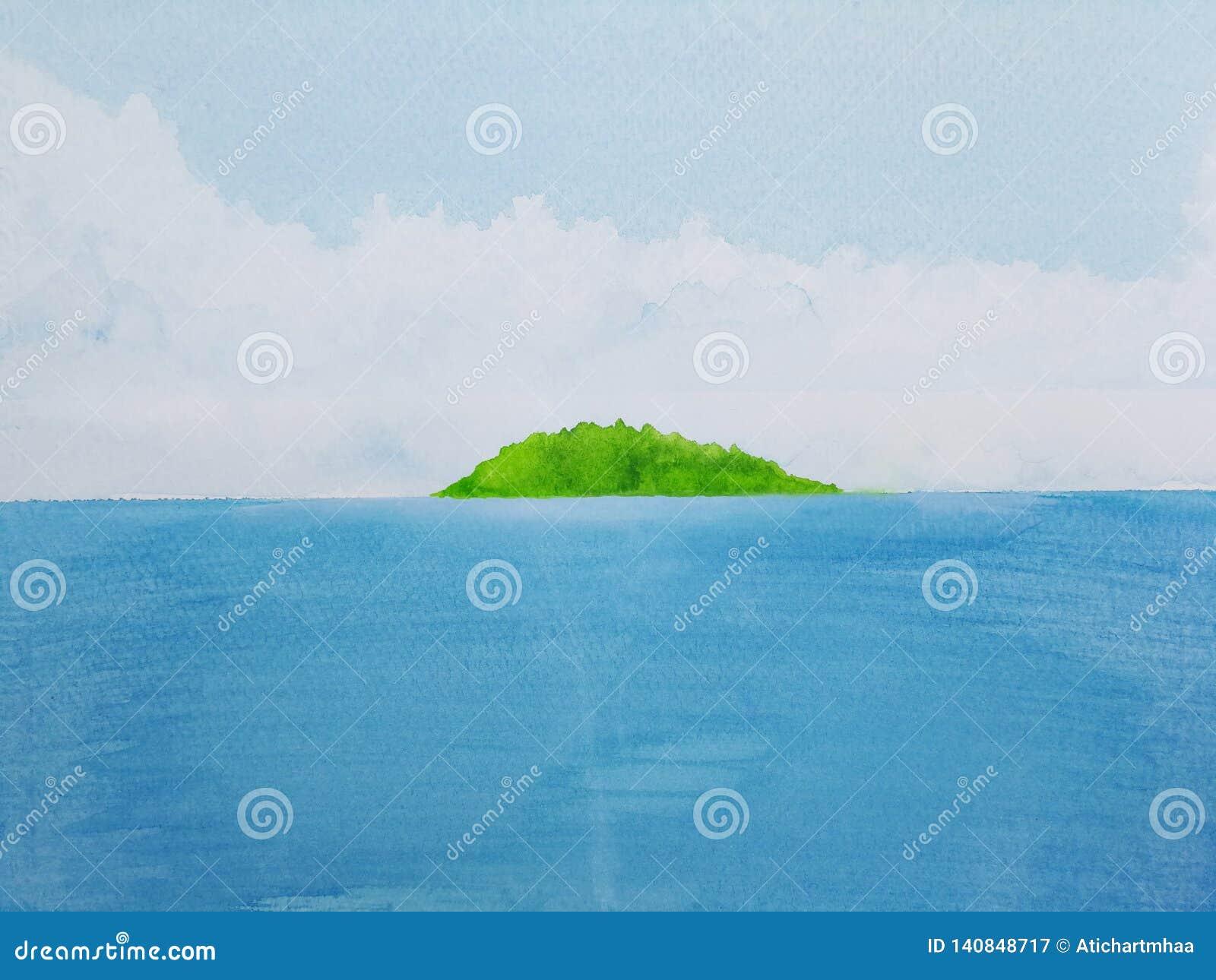 水彩绘画有绿色海岛的风景海
