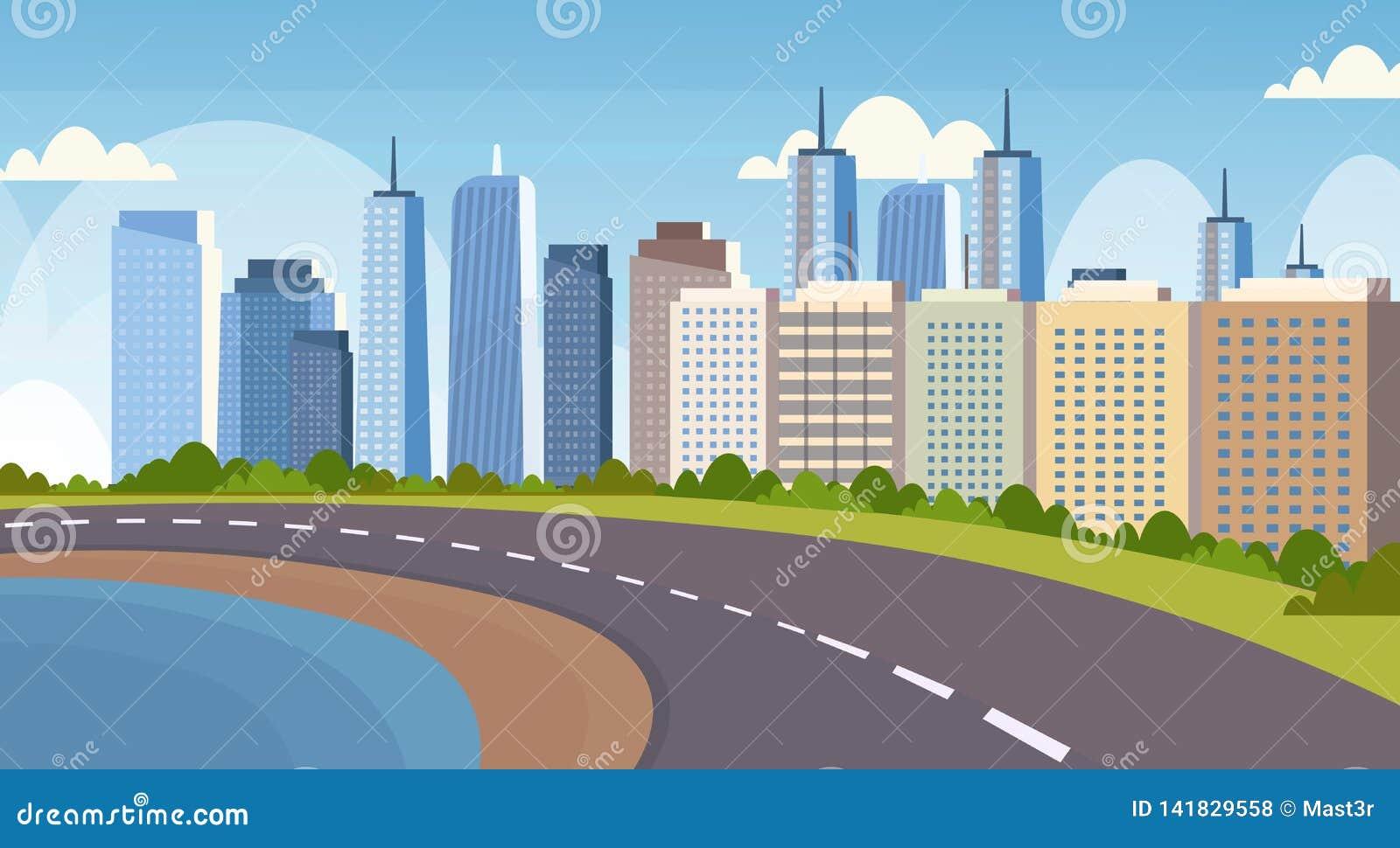 沥青在河和美好的城市全景高摩天大楼都市风景背景地平线舱内甲板之间的高速公路路