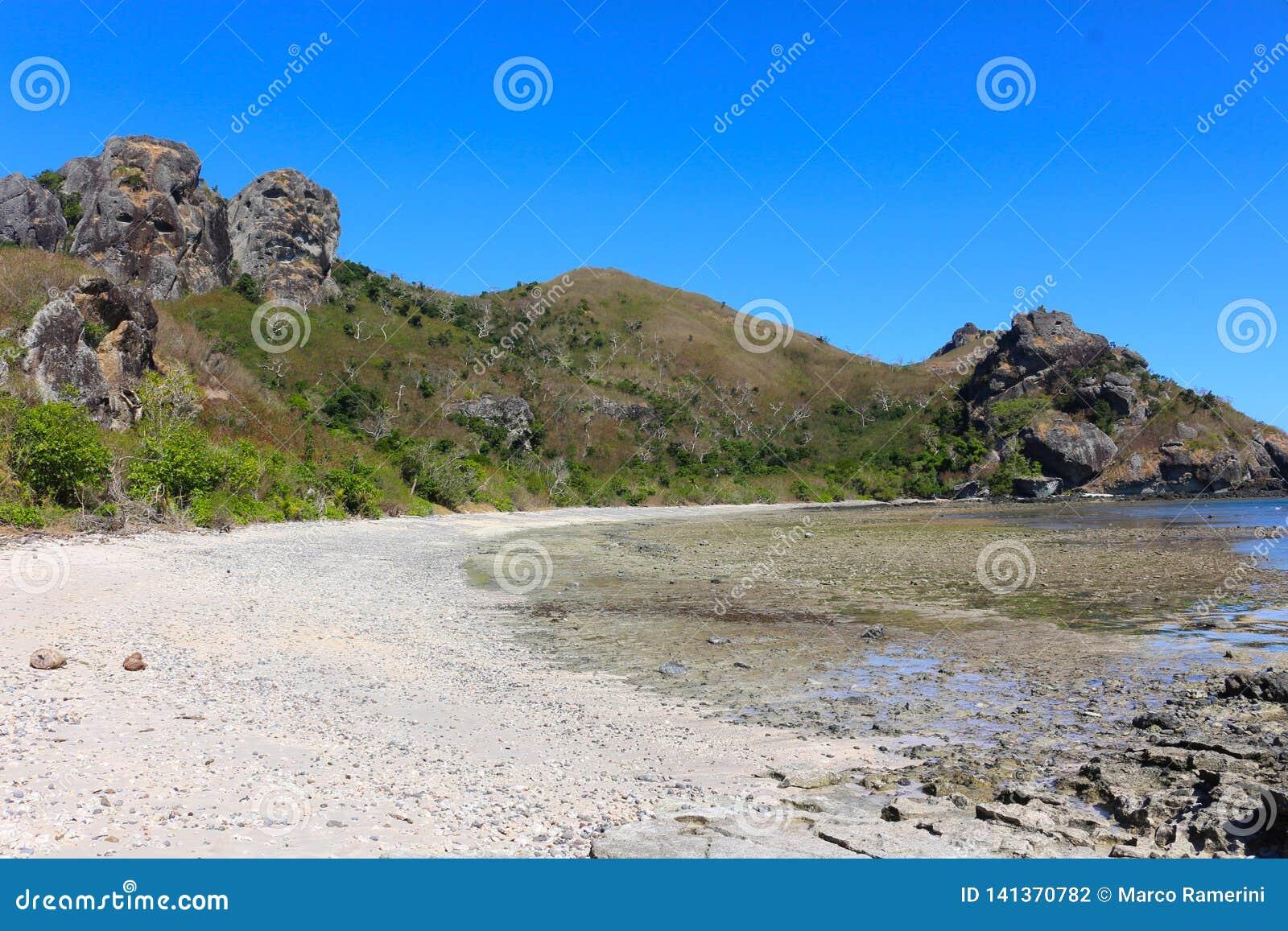 海滩一个热带海岛,斐济