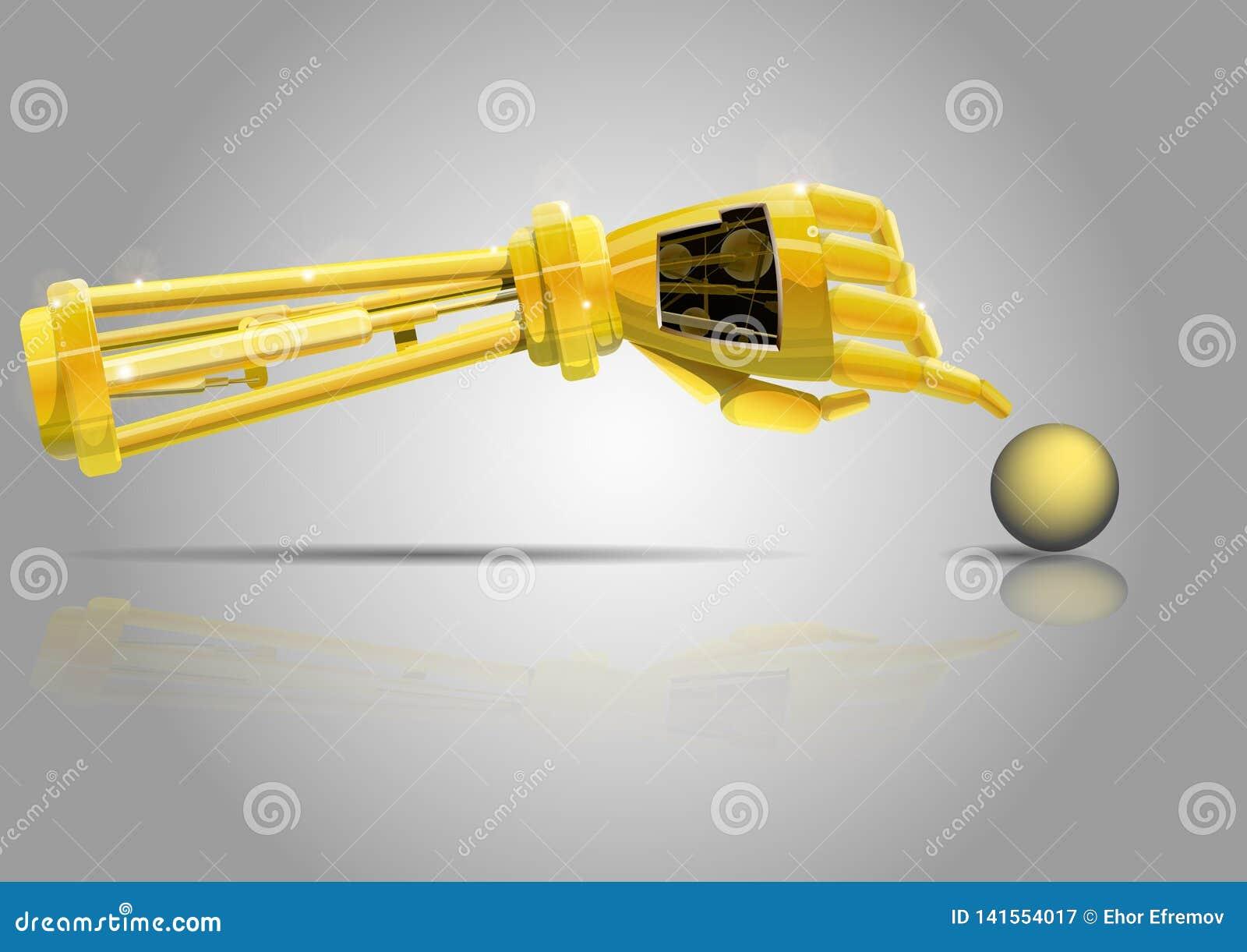 机器人胳膊 机器人的金黄手为黄色球到达