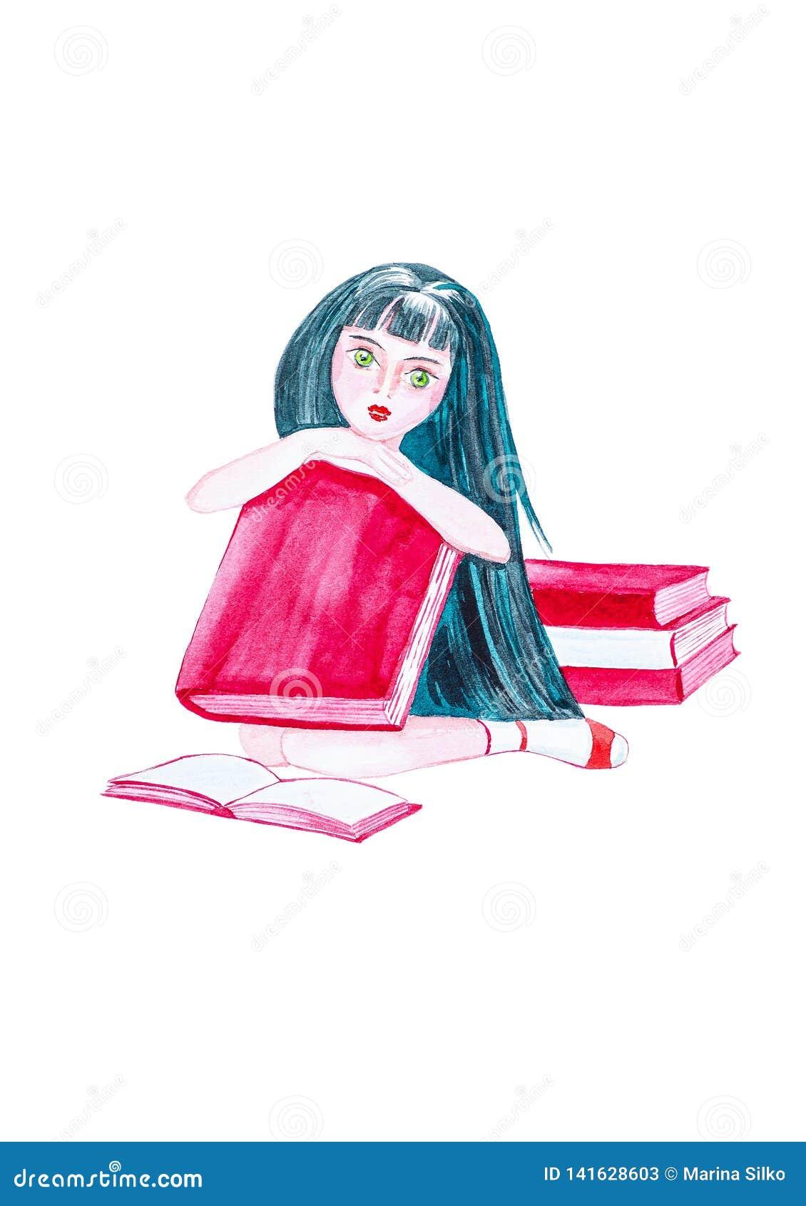 有坐地板围拢由书和拿着一本大书的长的黑色头发的美丽的少女 额嘴装饰飞行例证图象其纸部分燕子水彩