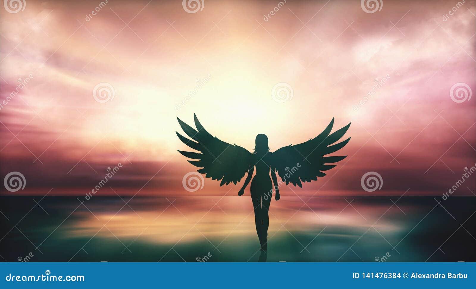 有天使翼的美女走在海滨的在日落