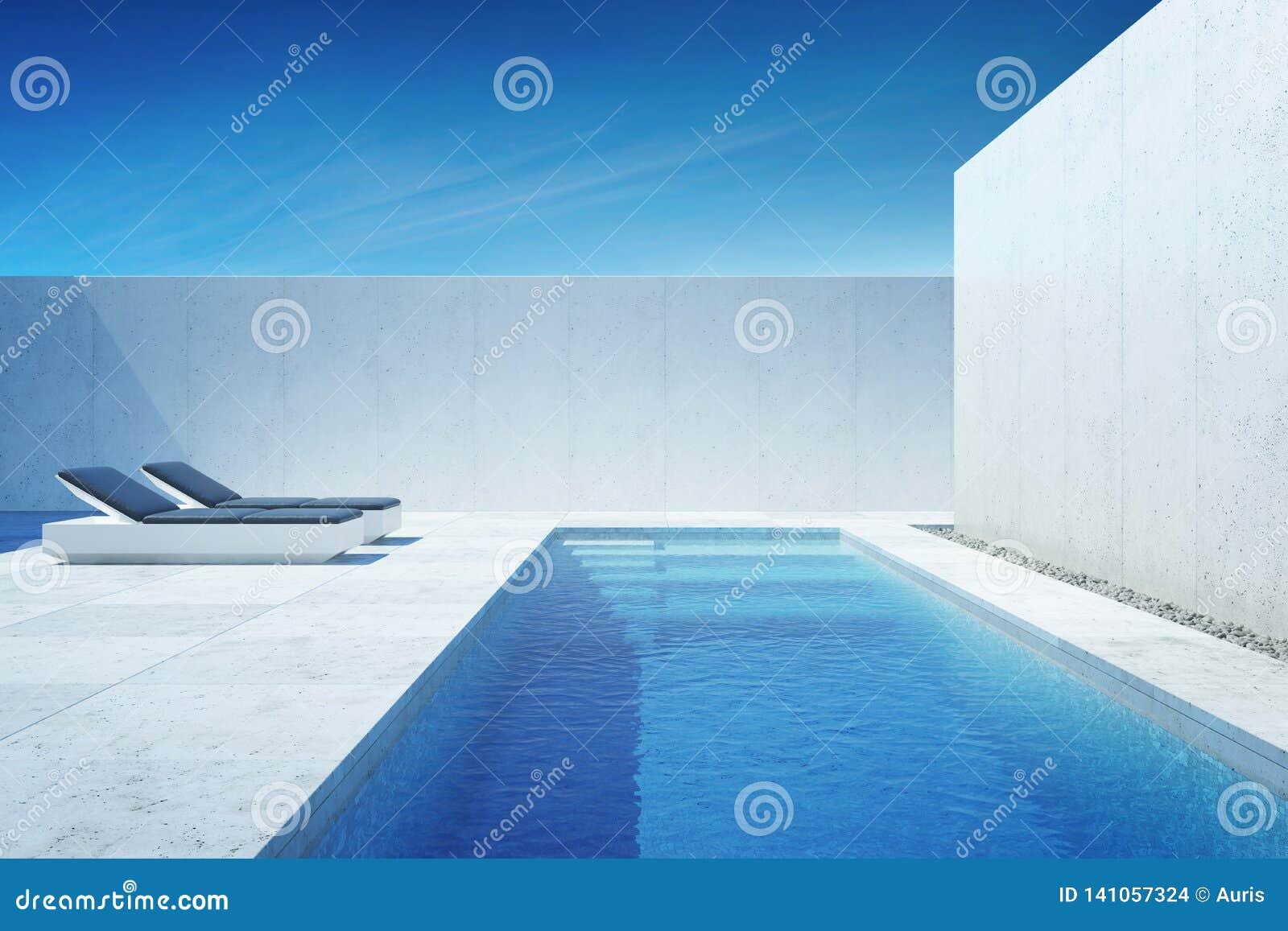 有游泳场的豪华现代后院