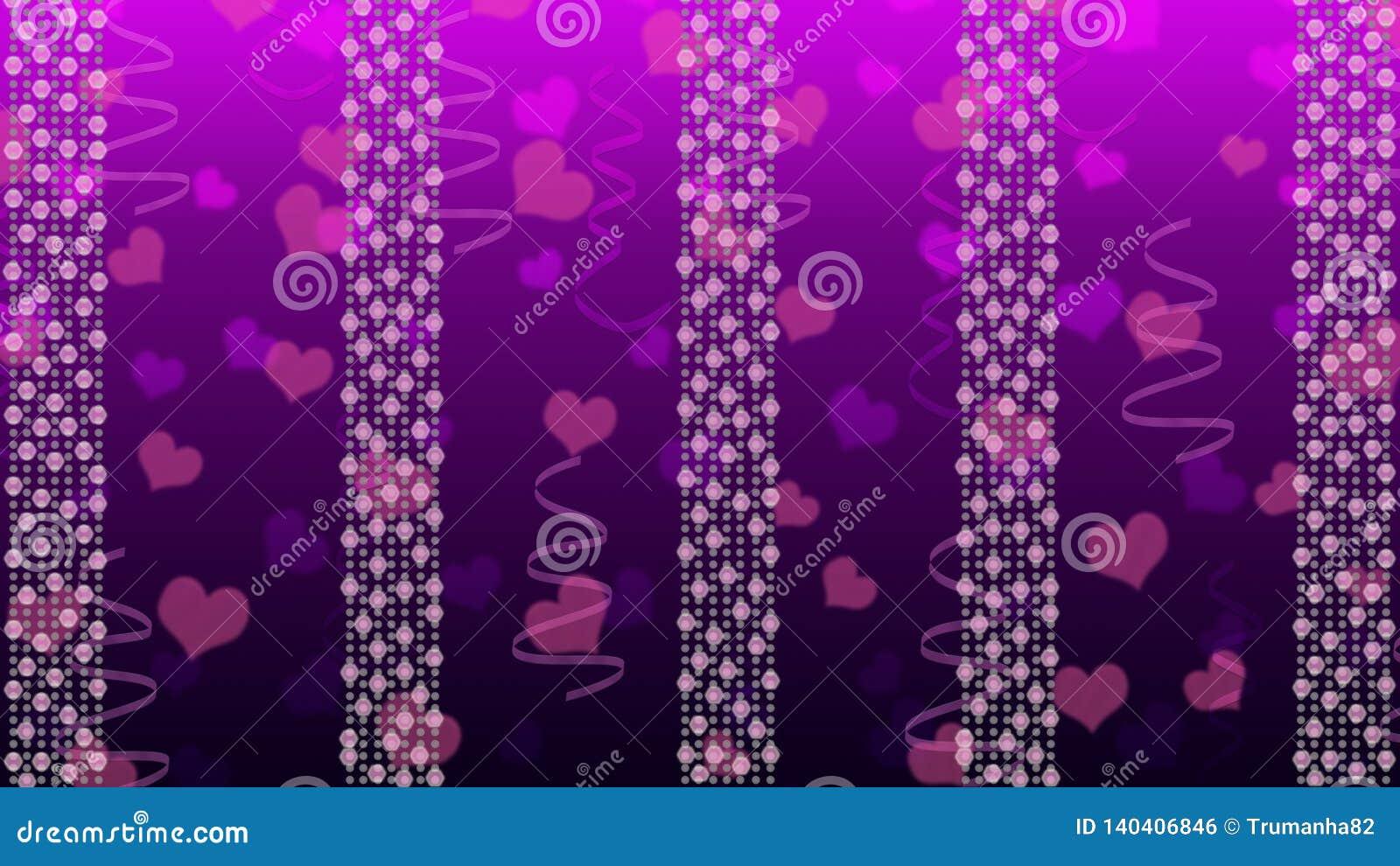 抽象明亮的光、心脏和丝带在Gradated紫色背景中