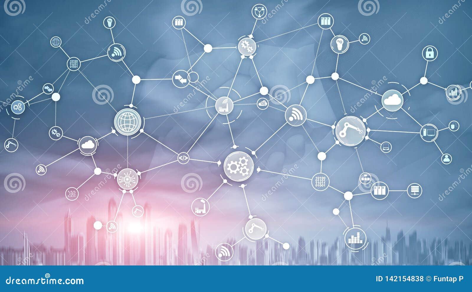 技术工业企业过程工作流在虚屏上的组织结构 IOT聪明的产业概念混合画法
