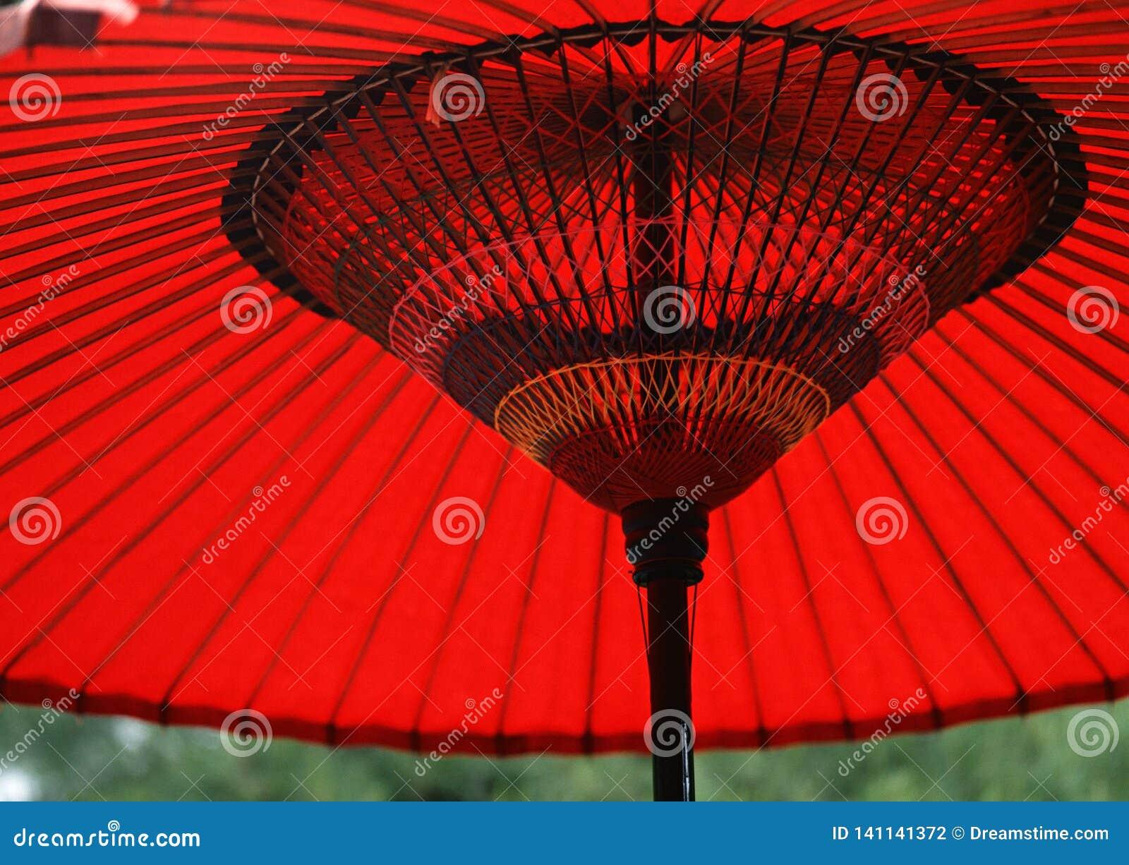 日本红色和黑木伞背景
