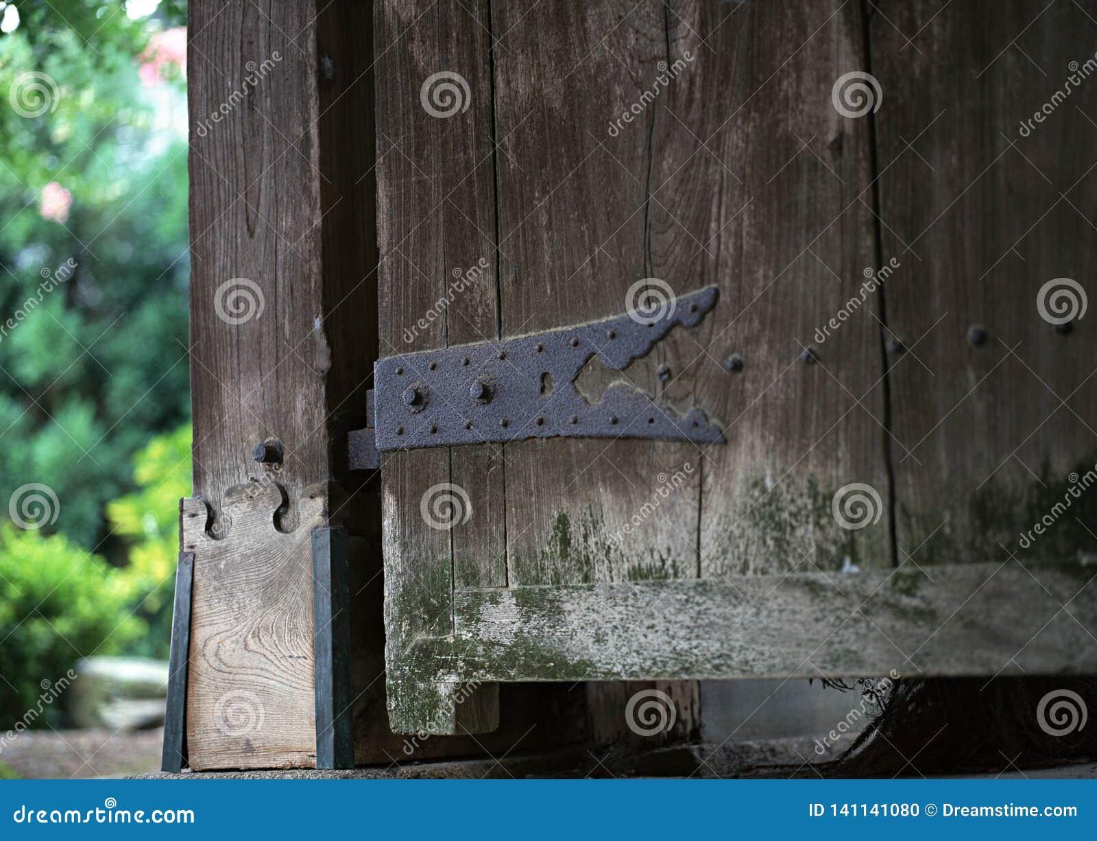 日语生锈的金属门细木工技术细节有螺丝背景