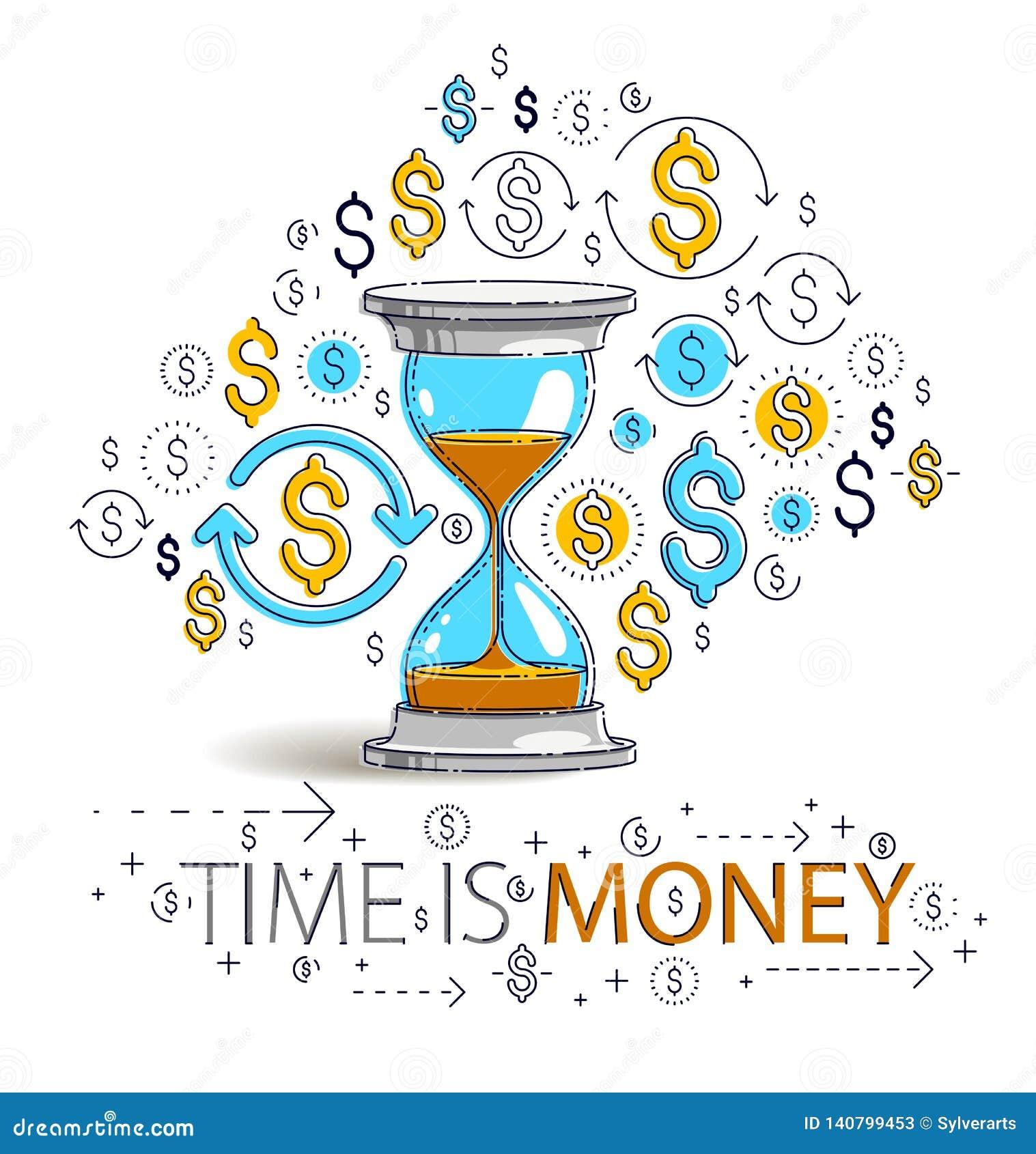 时间是金钱概念、滴漏和美元象集合,沙子手表定时器最后期限讽喻