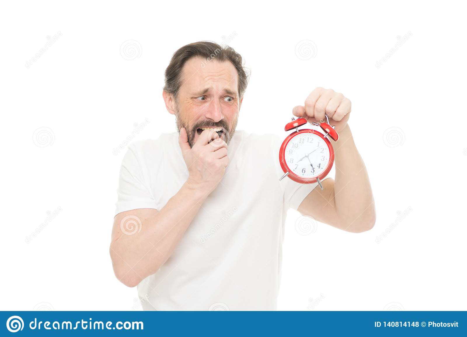 时间管理和学科 守时和责任 有时钟的人在白色背景 不喜欢晚 人