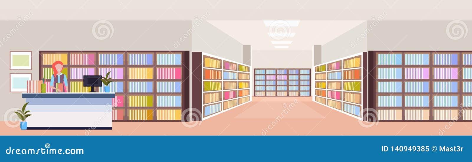 总台现代图书馆内部书架室书橱的图书管理员妇女有书的读教育的