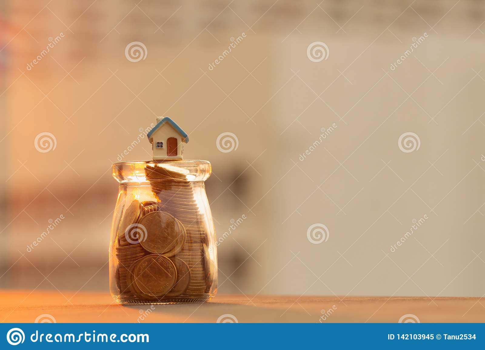 硬币和家瓶的;节约金钱概念