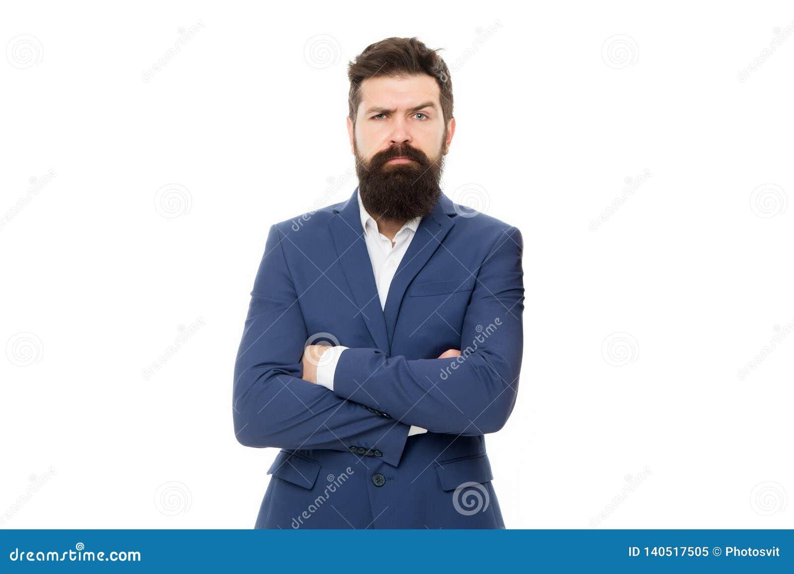确信的销售主任 正式衣服的有胡子的人 企业概念查出的成功白色 刮胡须人 男性时尚神色 博若莱红葡萄酒