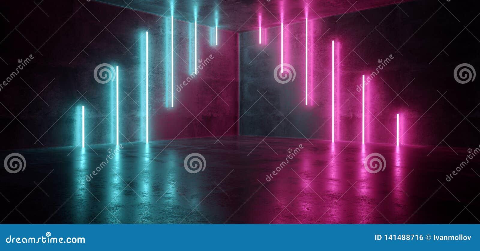 科学幻想小说蓝色桃红色紫色霓虹未来派计算机国际庞克发光的减速火箭的现代充满活力的光激光展示空的阶段室反射性的霍尔