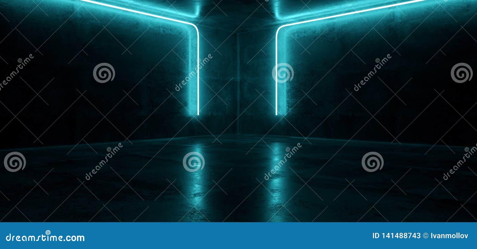 科学幻想小说霓虹未来派计算机国际庞克发光的减速火箭的现代充满活力的蓝色点燃激光展示空的阶段室霍尔反射性混凝土