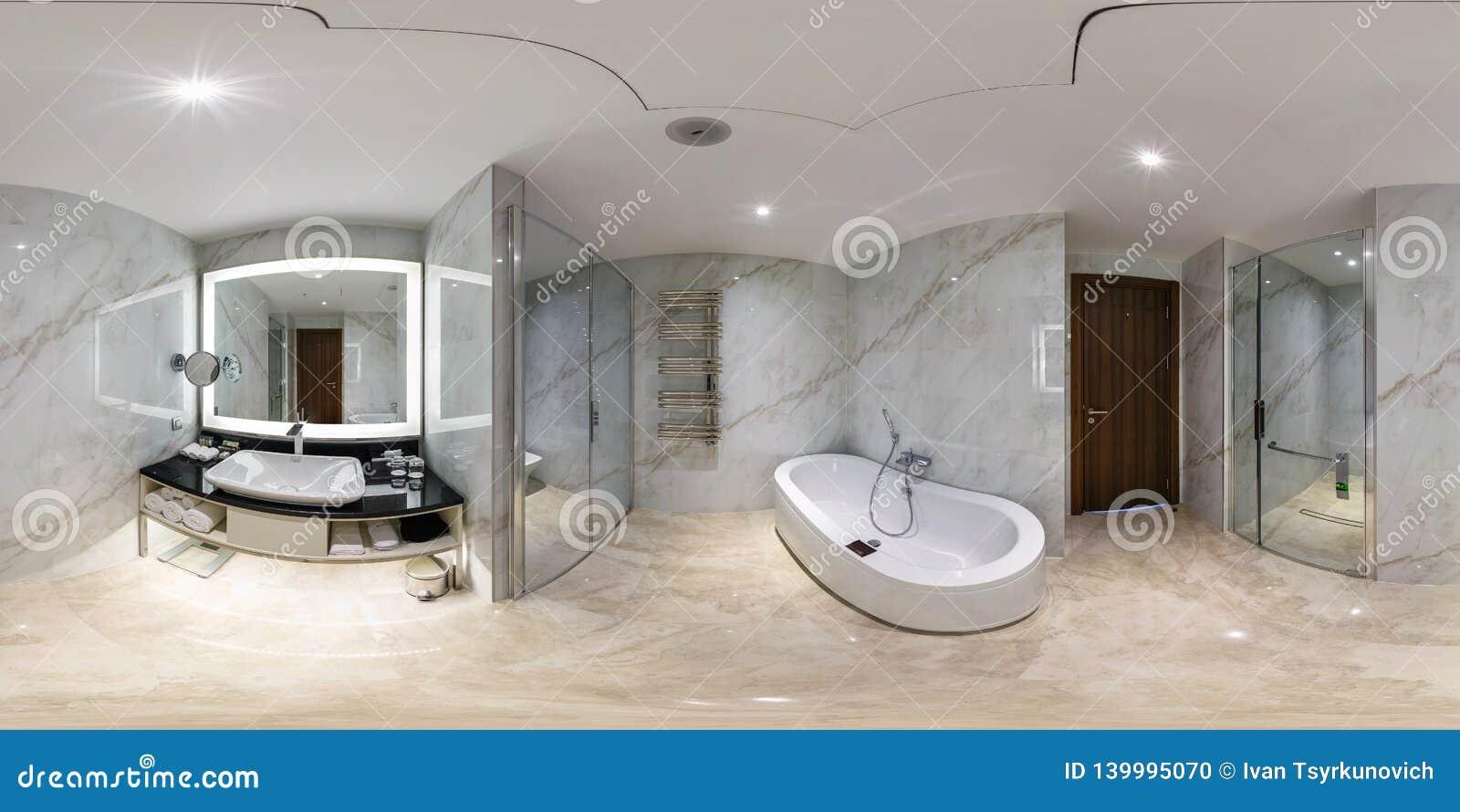 米斯克,白俄罗斯- 2017年5月:充分的球状全景360度角度图在现代平的公寓的内部卫生间里