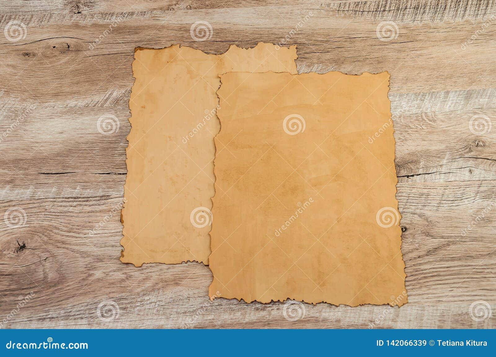 纸莎草两个片断在木背景的