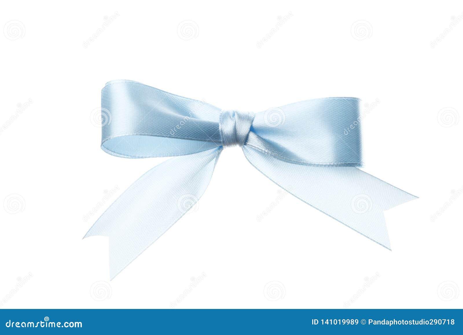 美好的在白色背景隔绝的假日蓝色弓