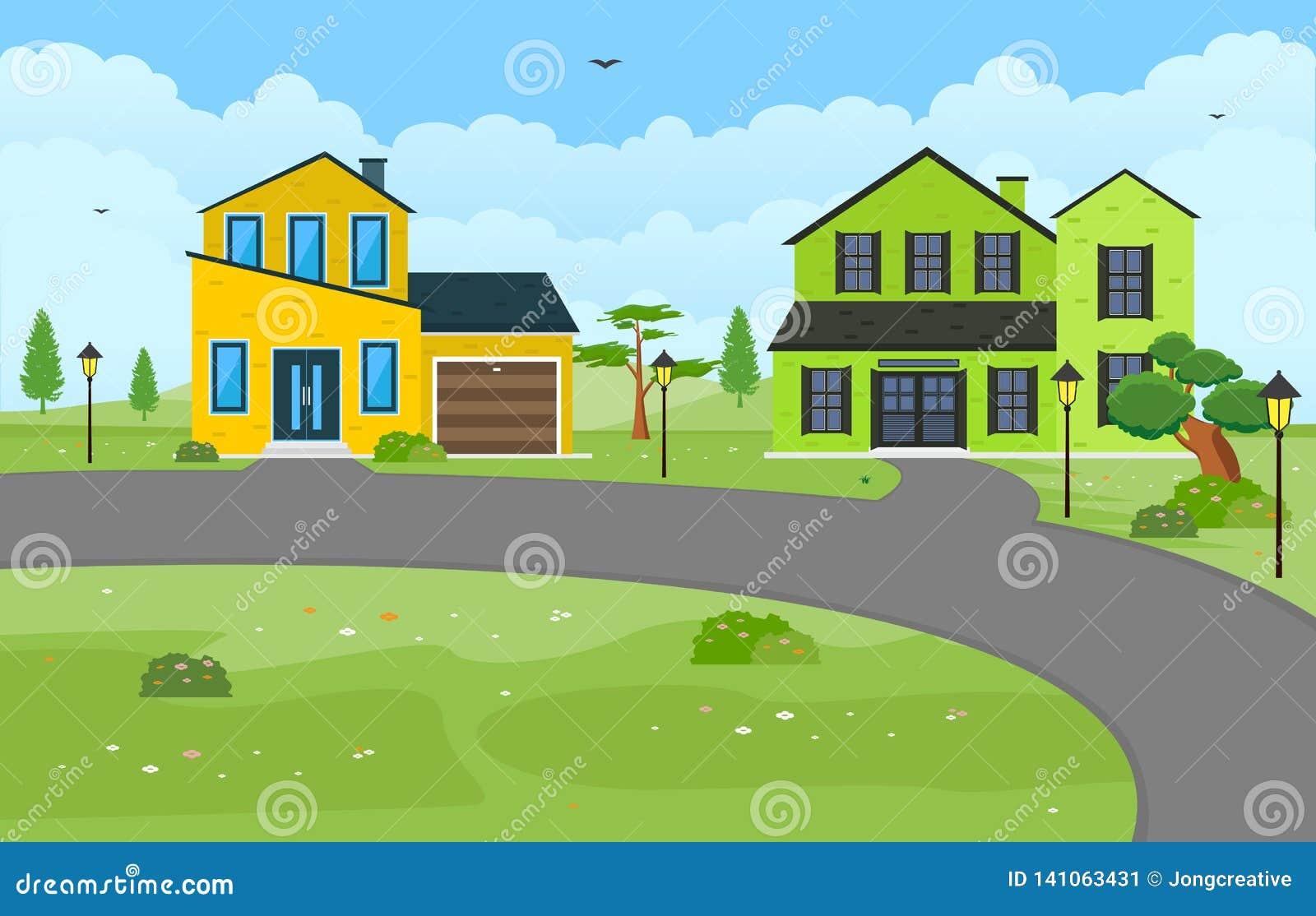 美好的现代议院外部门面围场住宅例证