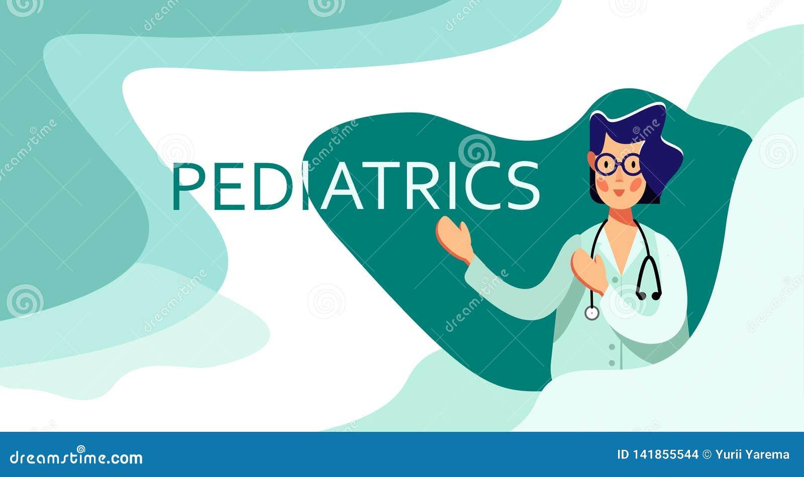 玻璃的微笑的妇女医生与在词小儿科的听诊器点 到诊所或医院的参观