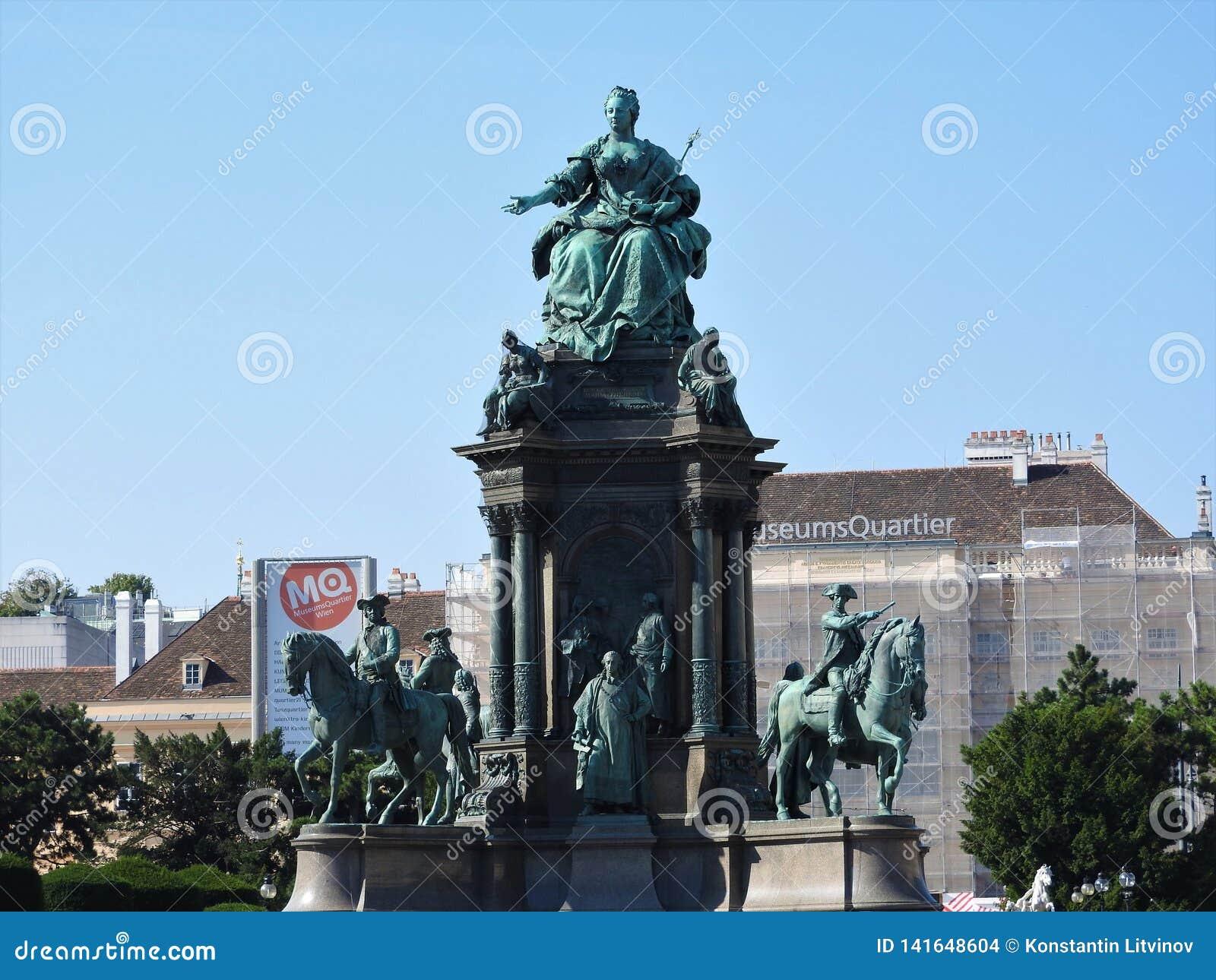 玛丽亚・特蕾西亚广场,维也纳,奥地利的区域,在一个晴天