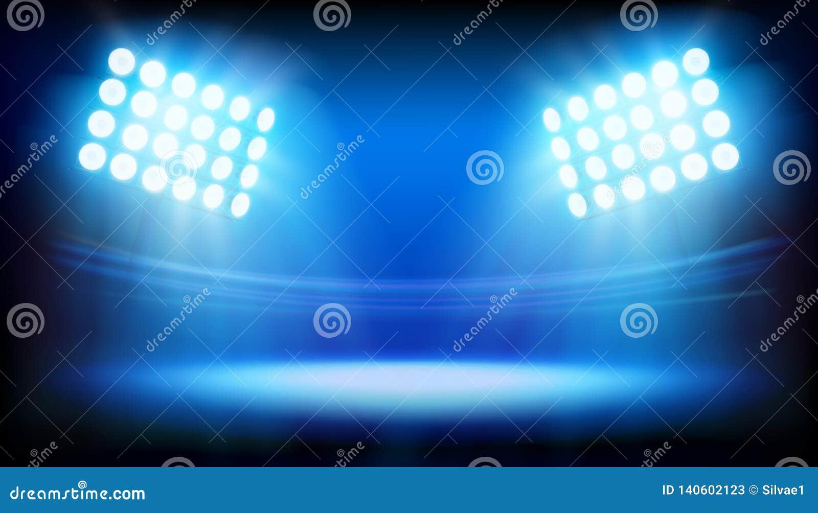照亮体育场的泛光灯 抽象向量例证