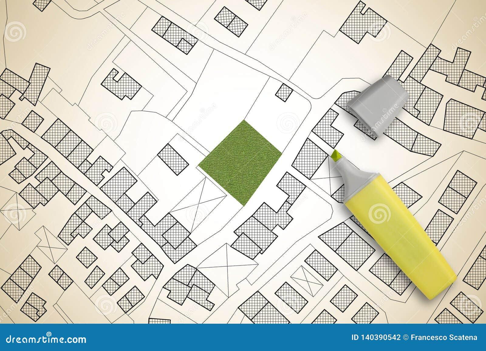 疆土虚构的地籍图有自由绿色土地的可利用为楼房建筑-概念图象