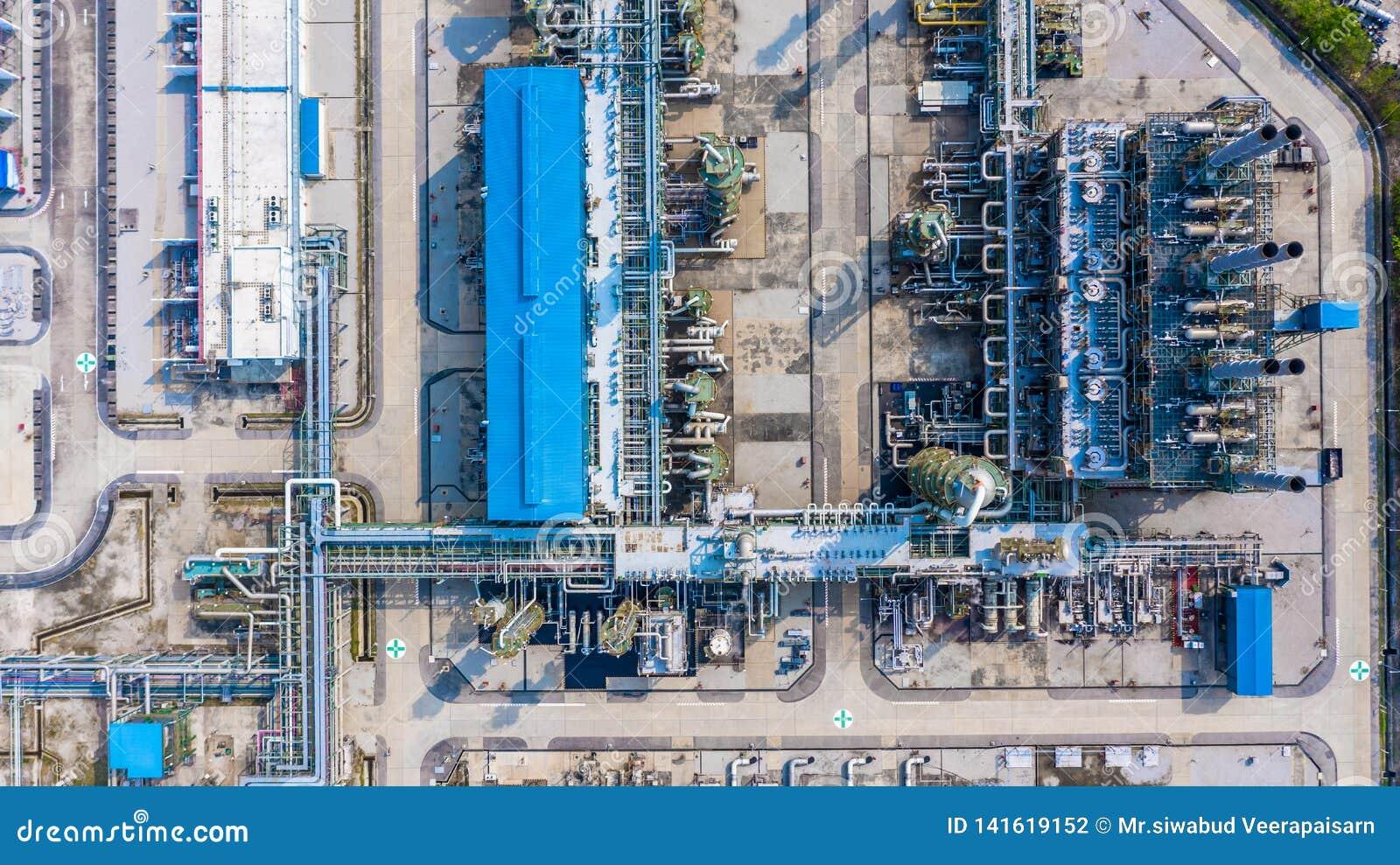 聚乙烯植物在工业园,鸟瞰图聚乙烯产业