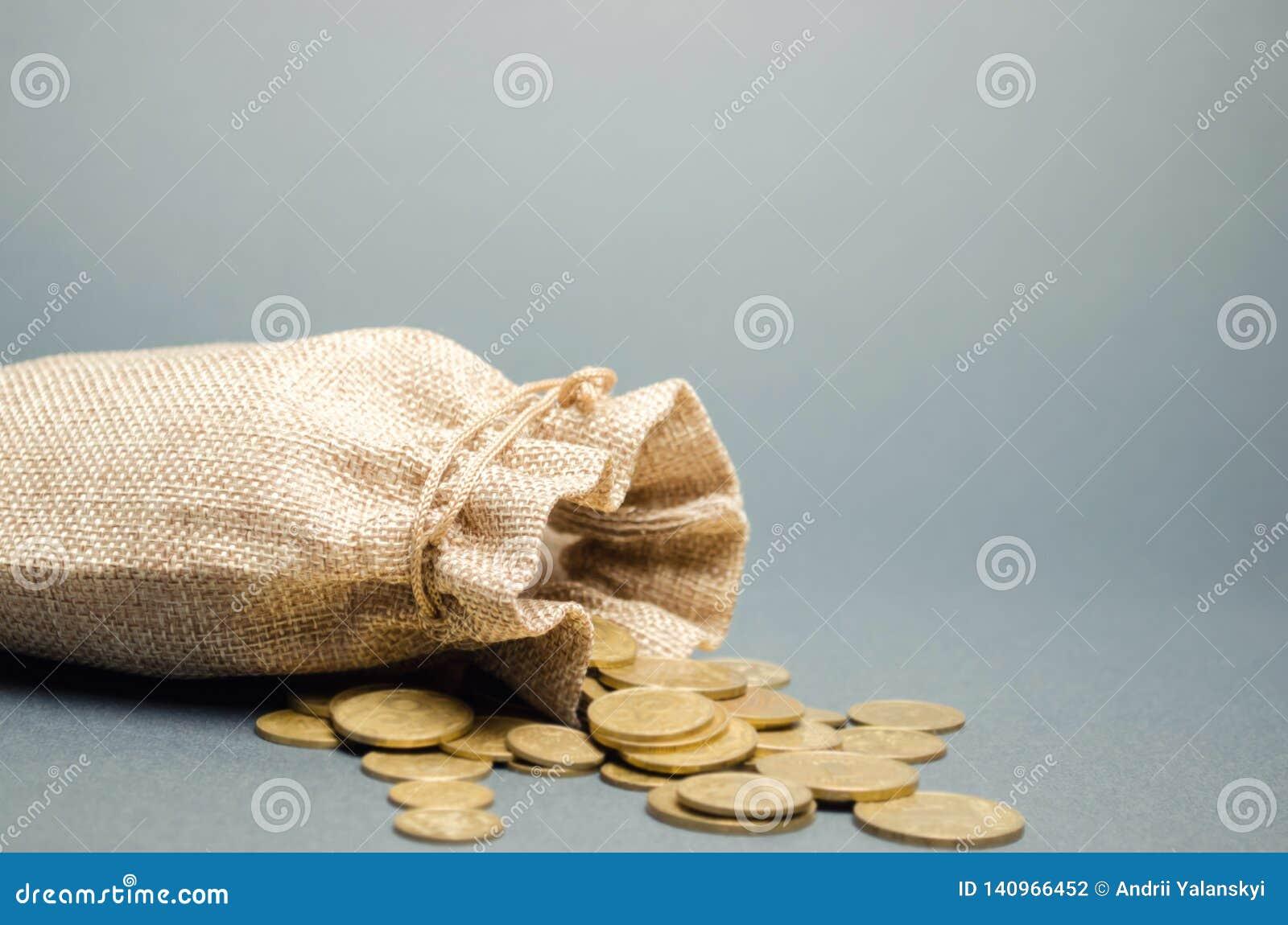 落从它的金钱袋子和硬币 储款和经济的概念 定金 成本控制 赢利和流动资产 现金