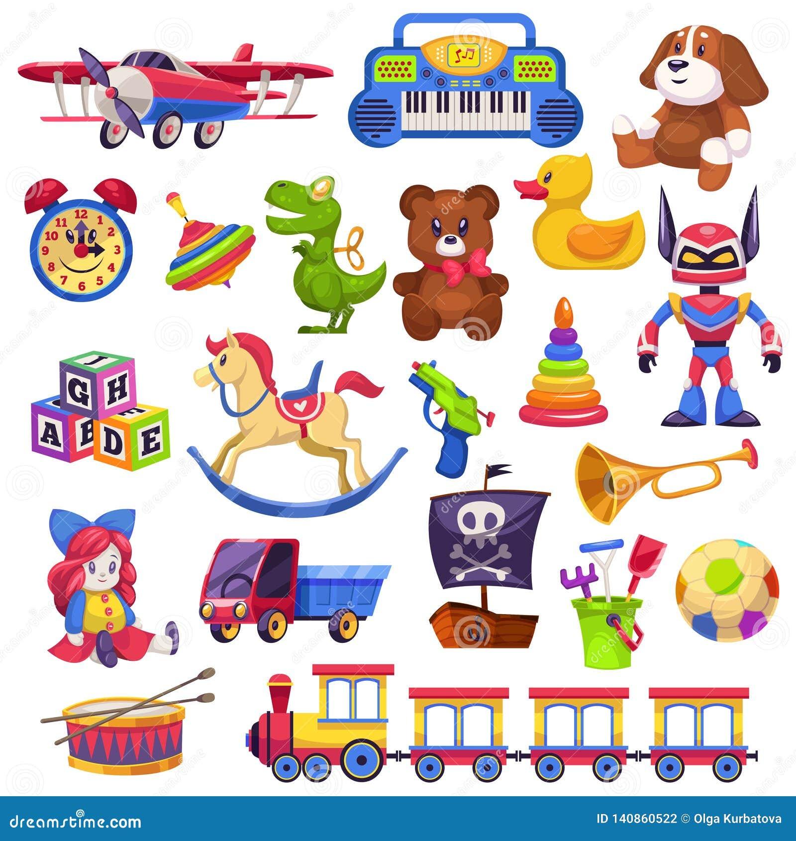 被设置的孩子玩具 玩具孩子儿童学龄前房子婴孩最后一球火车游艇马玩偶鸭子小船平面熊汽车金字塔