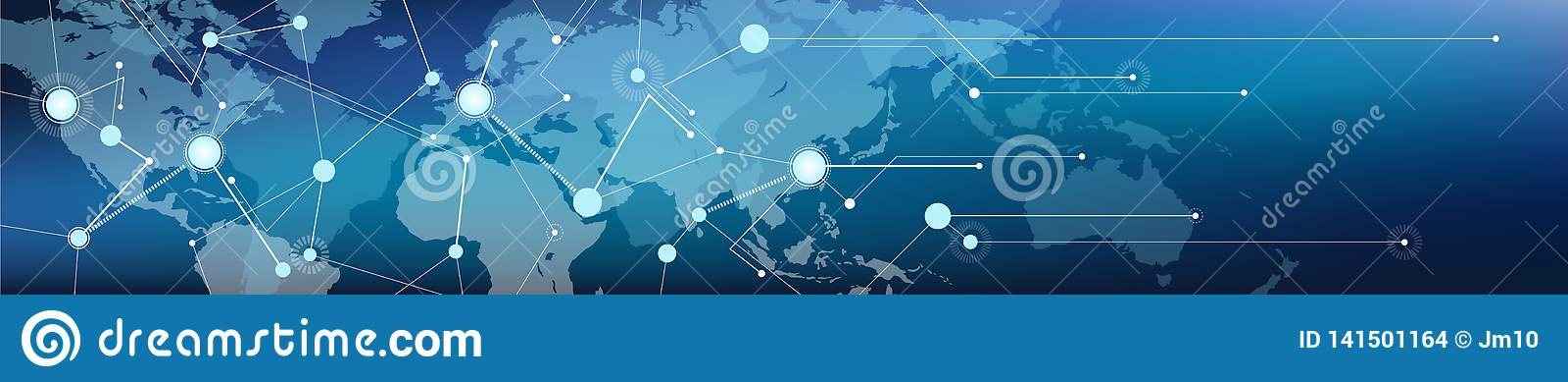 被连接的世界地图横幅–通信/后勤学和运输/商务、数字化和连通性