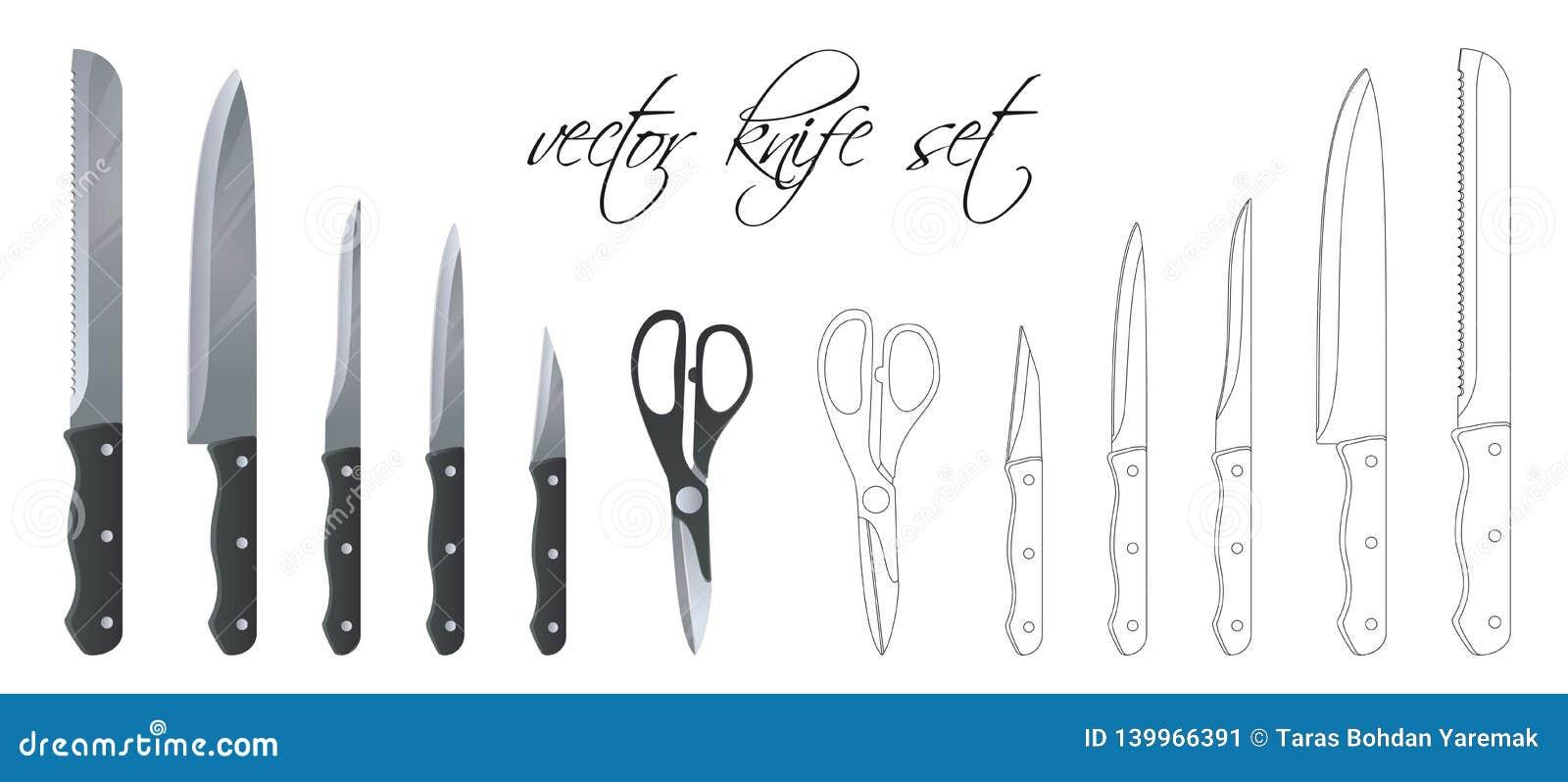 设置厨刀、剪刀和切削刀 线性集合 也corel凹道例证向量 可升级和编辑可能的颜色