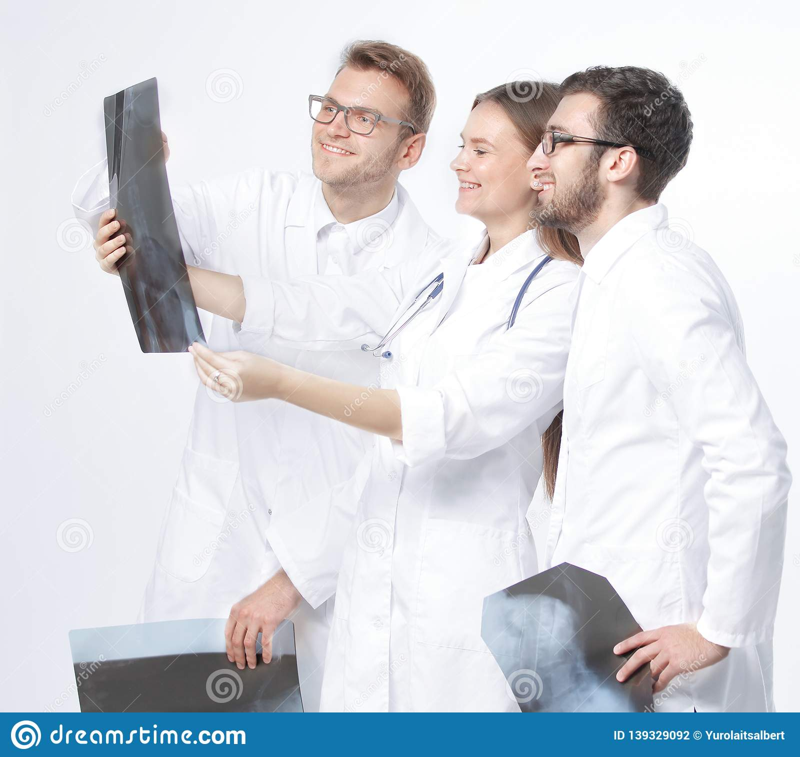 谈论小组微笑的医生X-射线 查出在白色