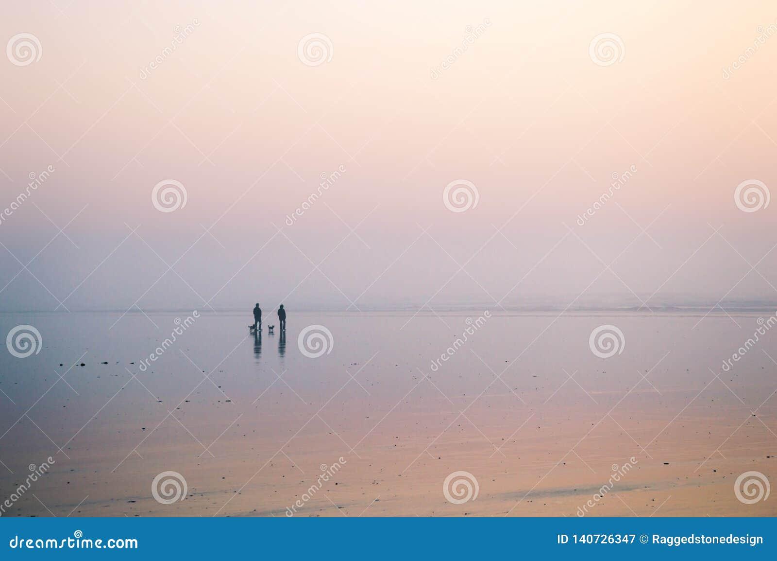 走在与两条狗的海滩的夫妇的剪影在一个有薄雾的下午 Saunton,德文郡,英国