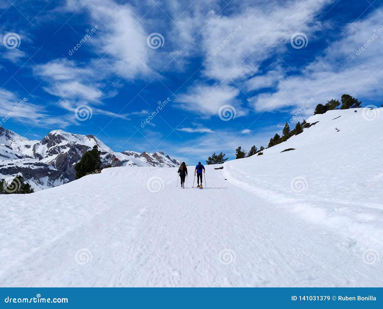 走在雪靴和棍子杆的旅行者夫妇在一座多雪的山的道路的冬天的白雪