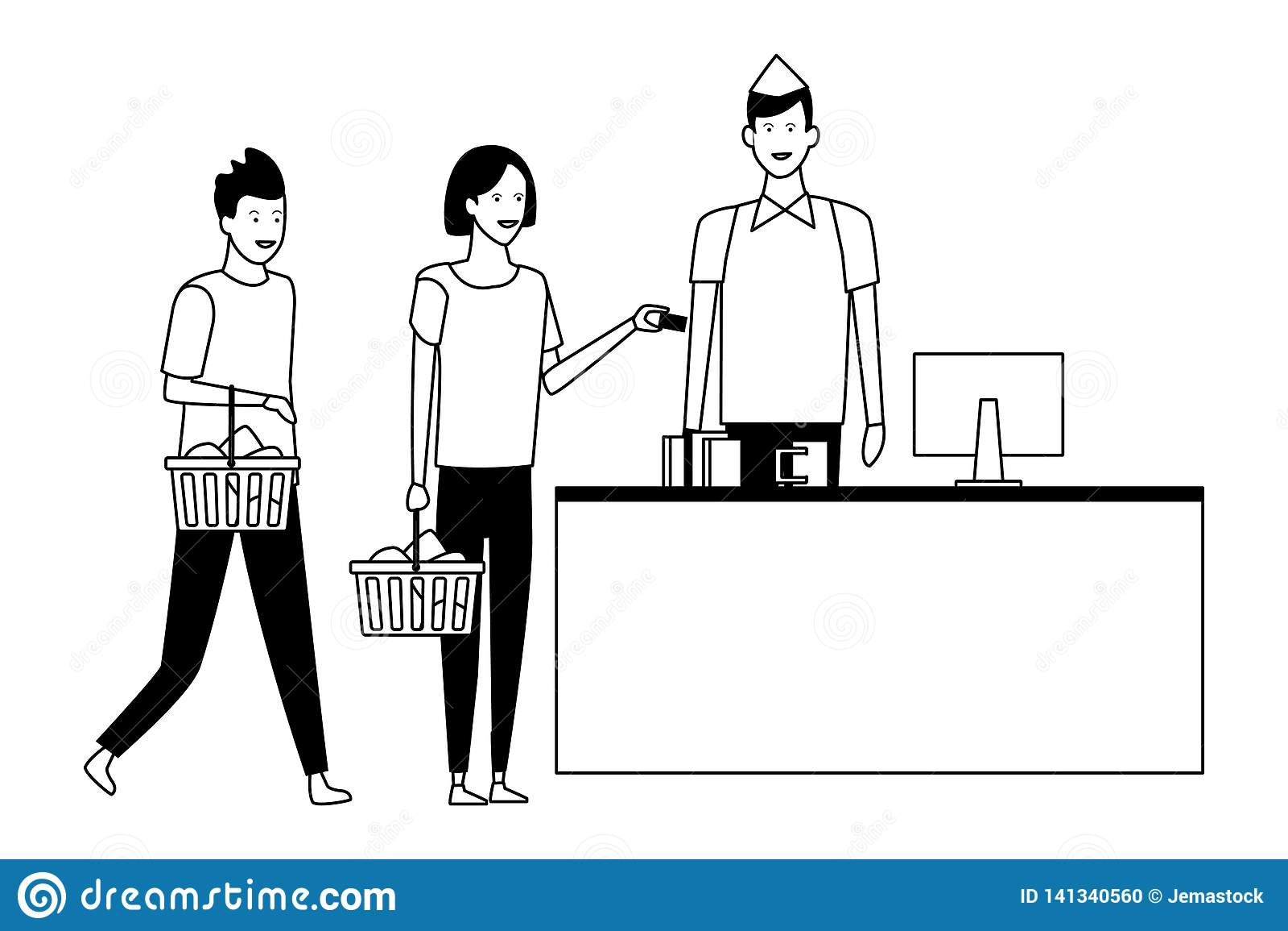 超级市场现金和顾客有手提篮的在黑白