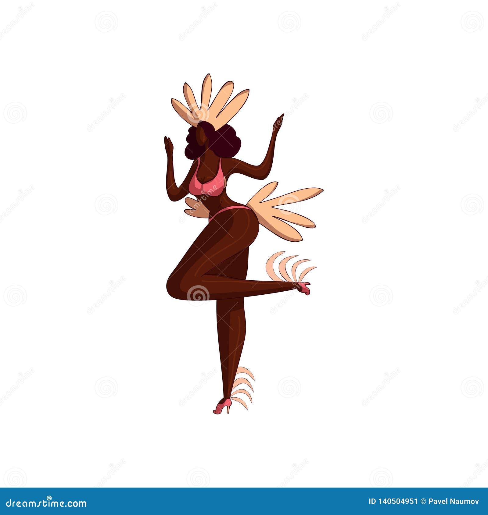 跳舞的行动的可爱的拉丁美州的女孩 比基尼泳装的与羽毛的妇女和头饰 桑巴舞蹈家 10个背景设计eps技术向量