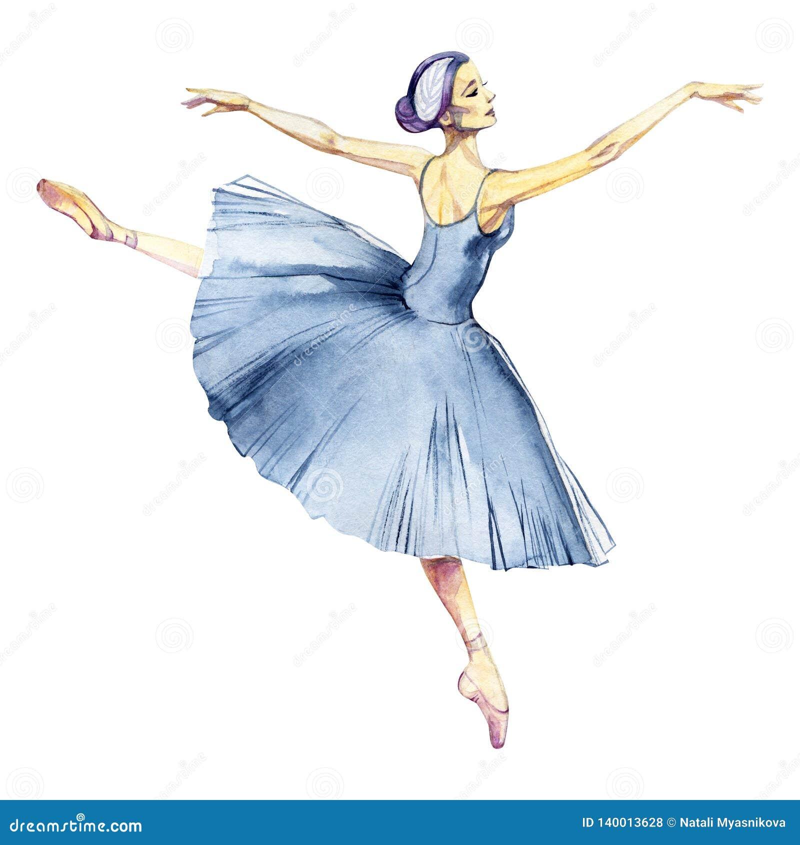 芭蕾舞女演员跳舞在白色背景贺卡隔绝的水彩绘画
