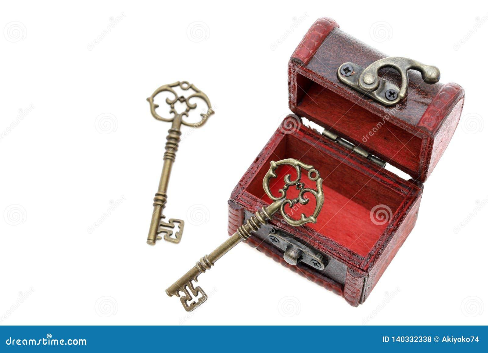 葡萄酒钥匙和老宝物箱