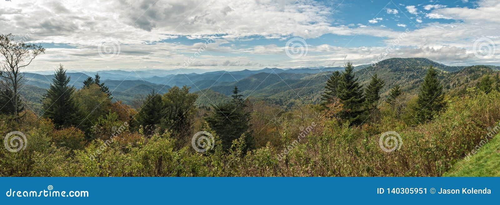 蓝岭山行车通道- Caney叉子俯视全景