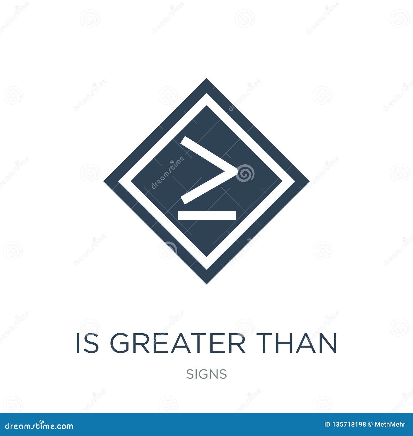 è superiore o uguale all icona nello stile d avanguardia di progettazione è superiore o uguale all icona isolata su fondo bianco